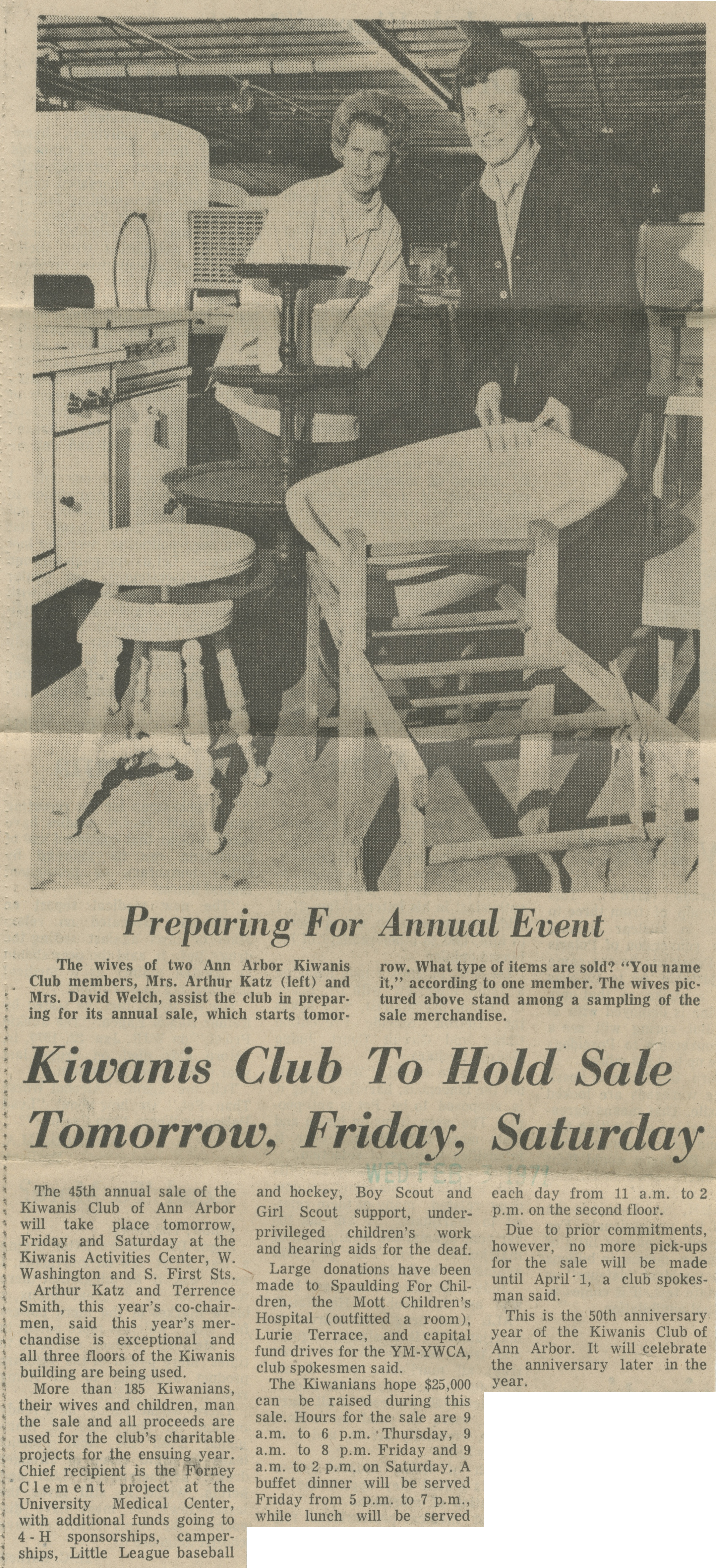 Kiwanis Club To Hold Sale Tomorrow, Friday, Saturday image
