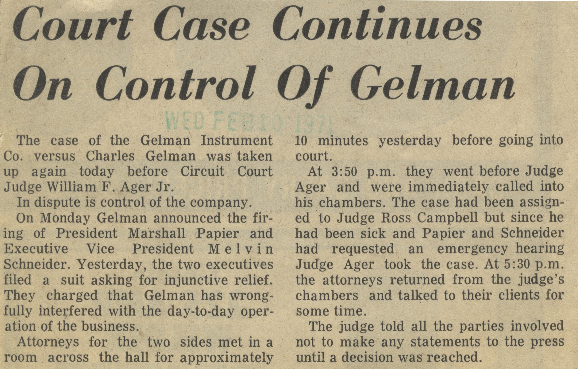 Court Case Continues On Control Of Gelman image