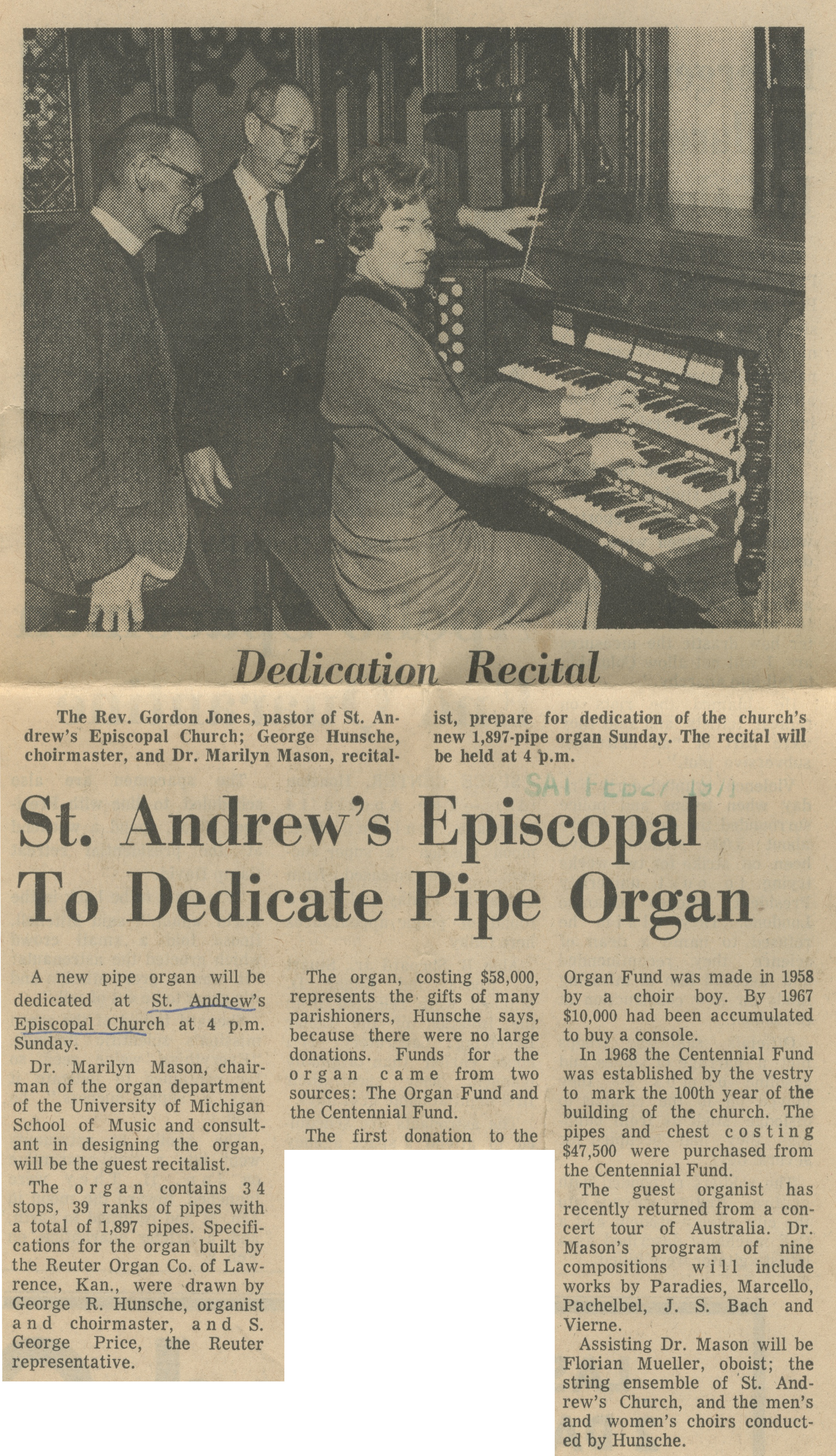 St. Andrew's Episcopal To Dedicate Pipe Organ image