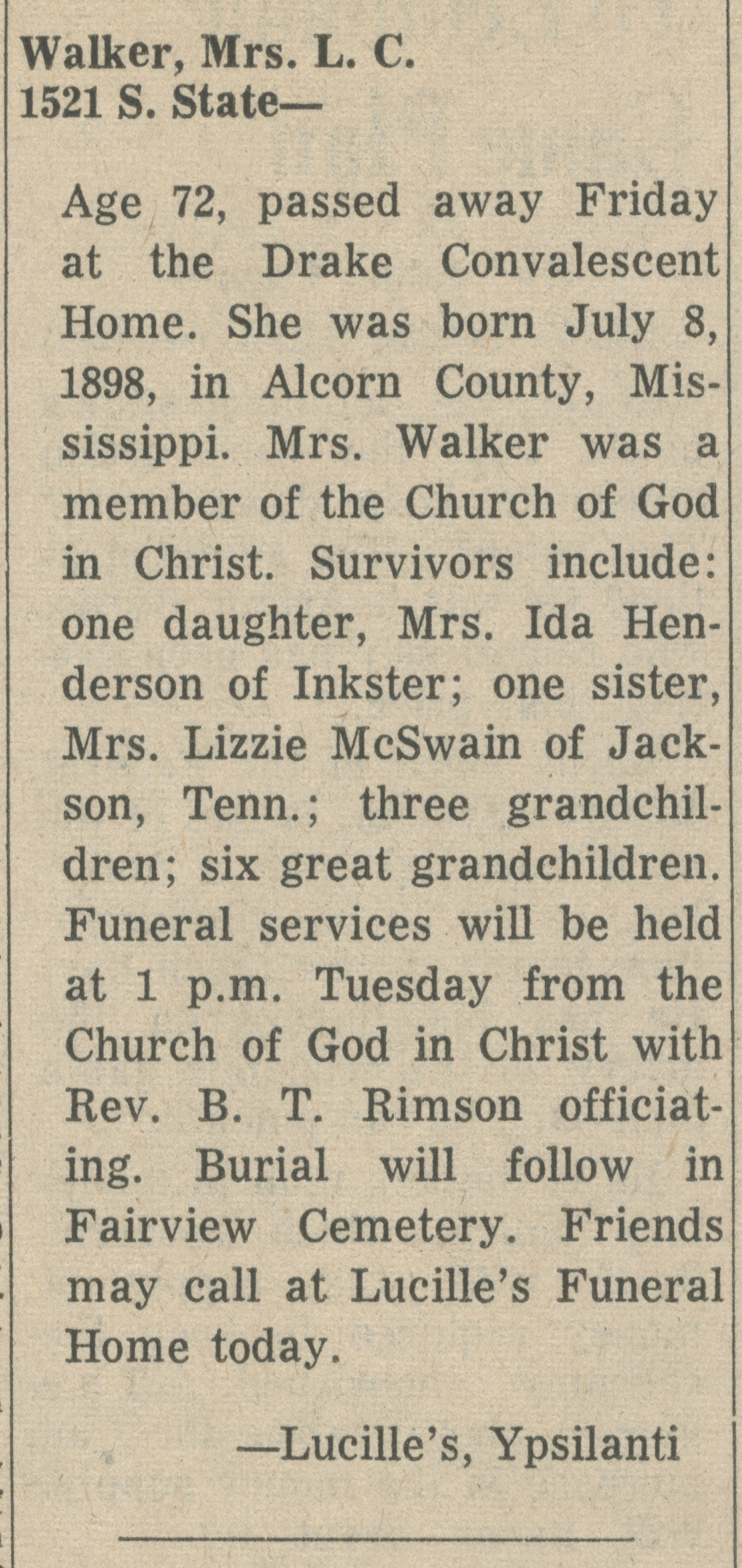 Walker, Mrs. L. C. image