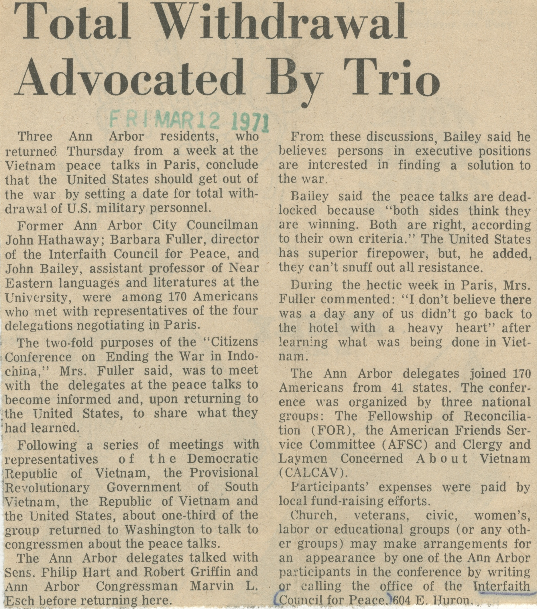 Total Withdrawal Advocated By Trio image