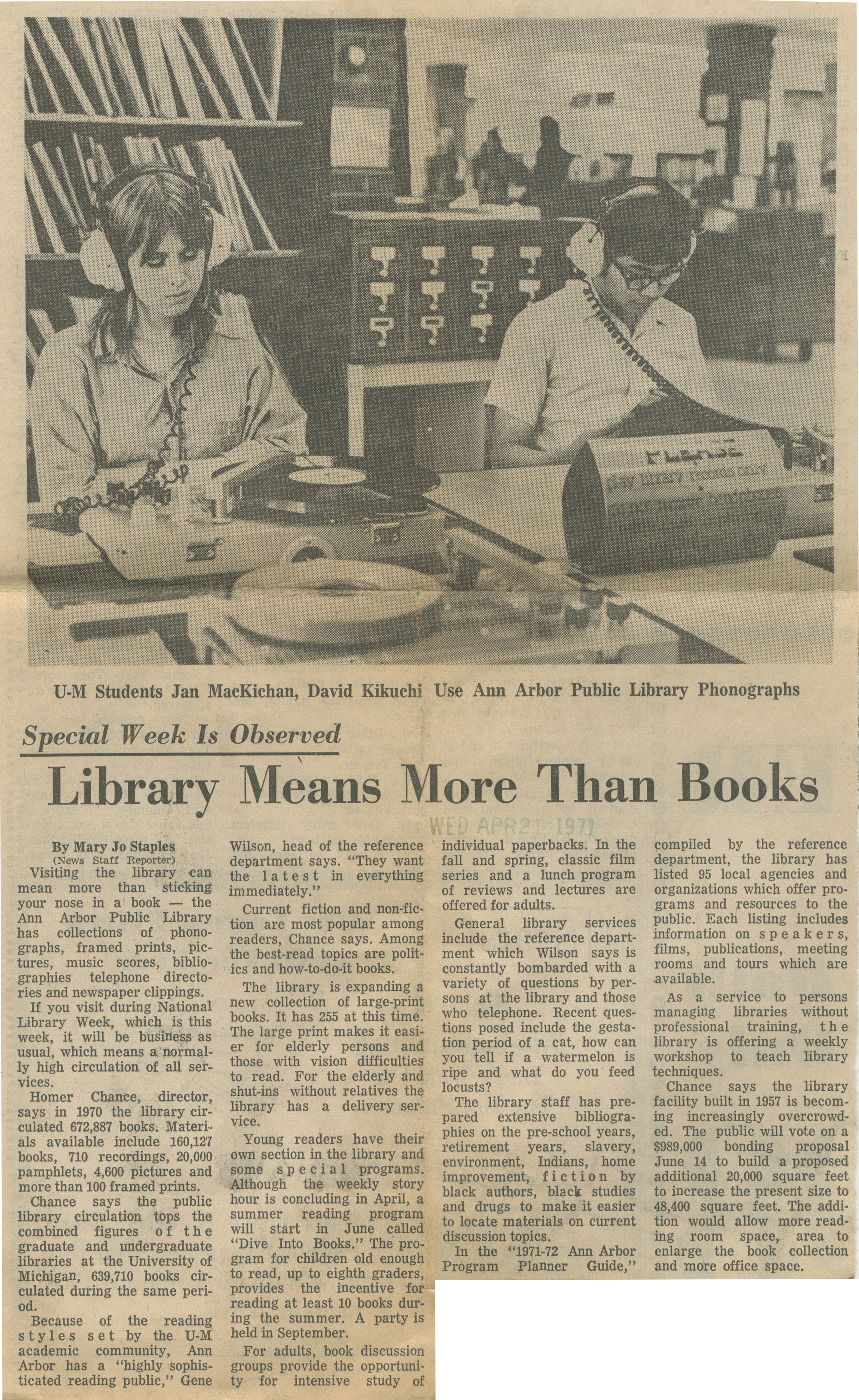 Library Means More Than Books - Special Week Is Observed image