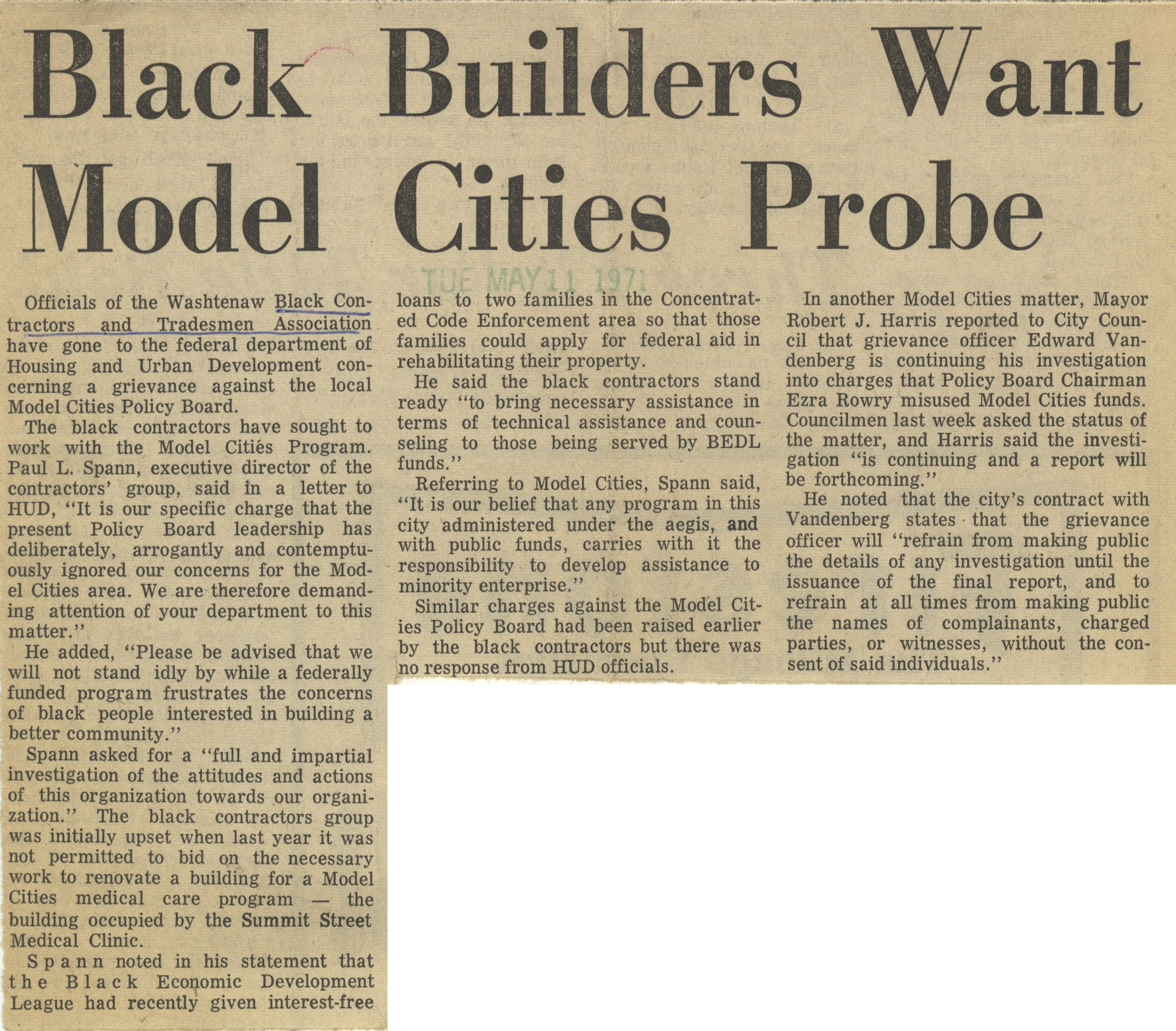 Black Builders Want Model Cities Probe image