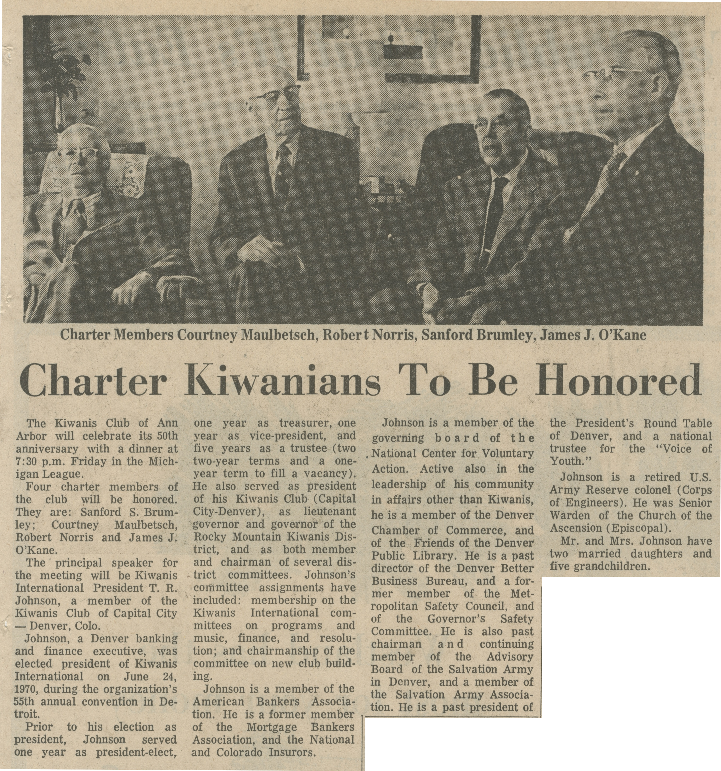 Charter Kiwanians To Be Honored image