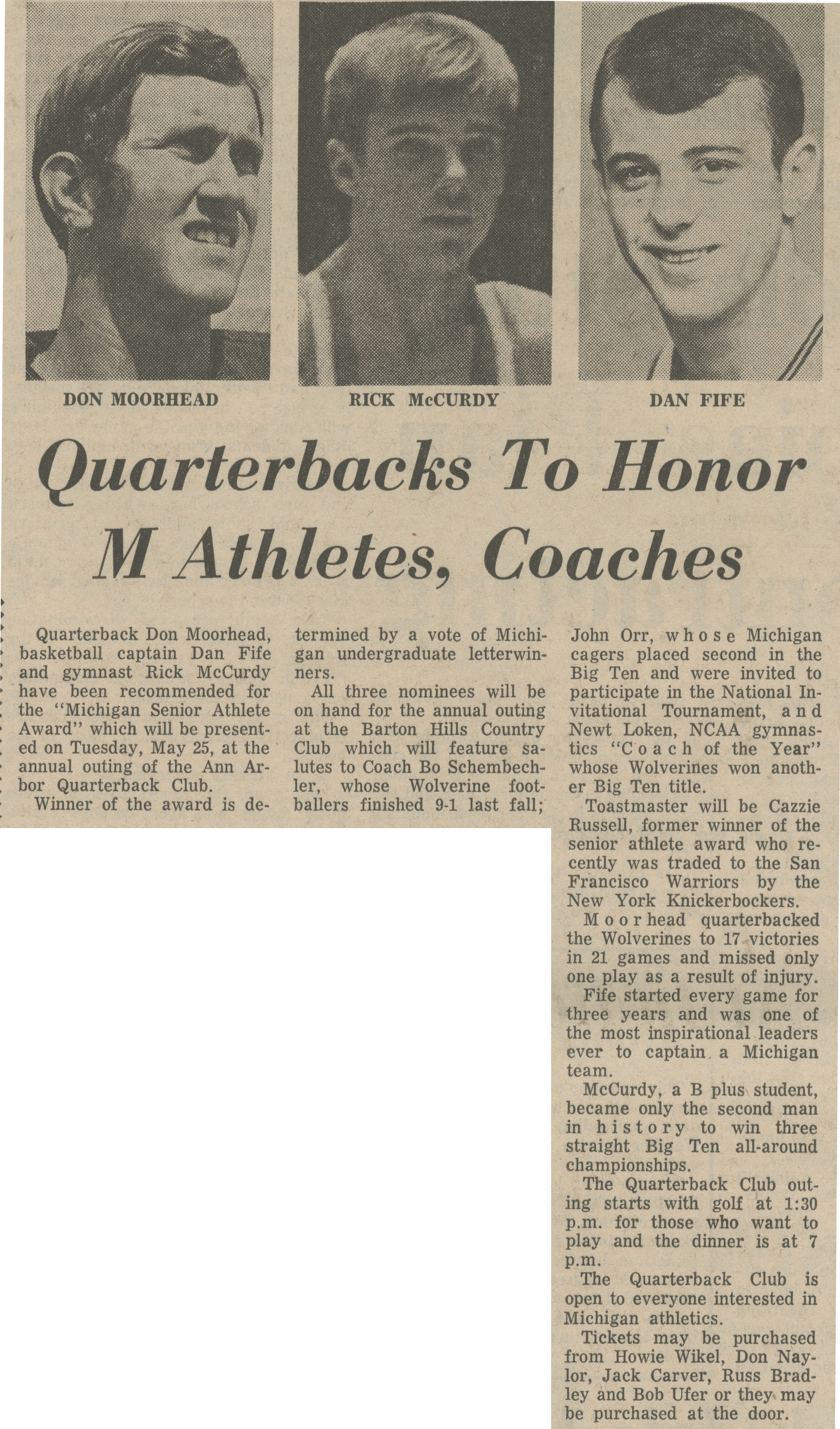 Quarterbacks To Honor M Athletes, Coaches image