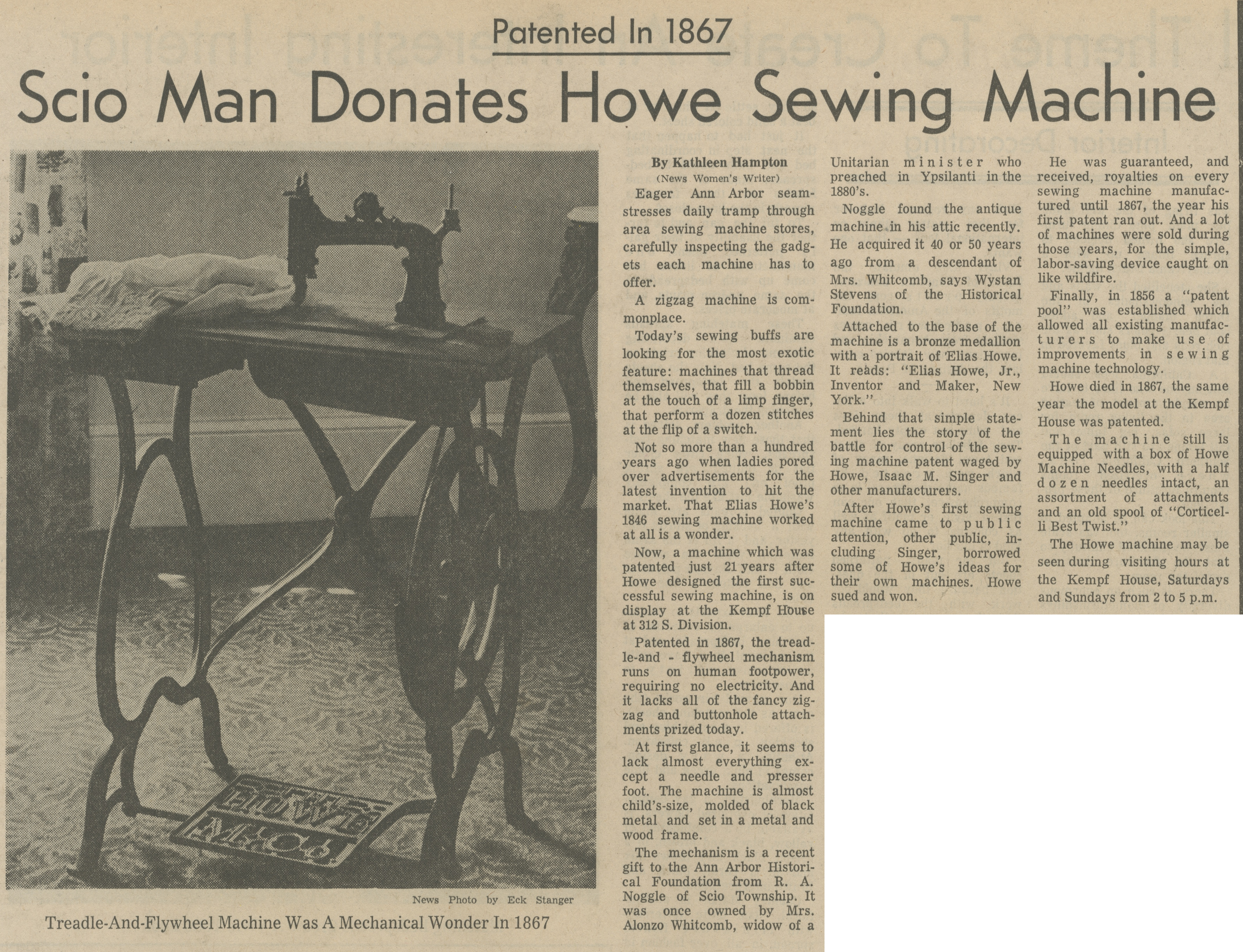 Patented In 1867 ~ Scio Man Donates Howe Sewing Machine image