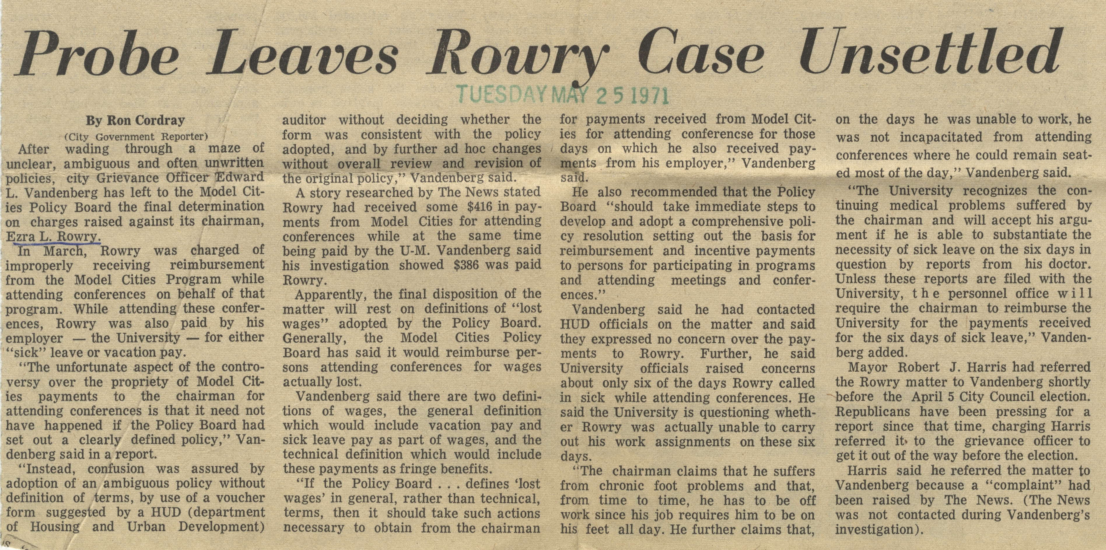 Probe Leaves Rowry Case Unsettled image