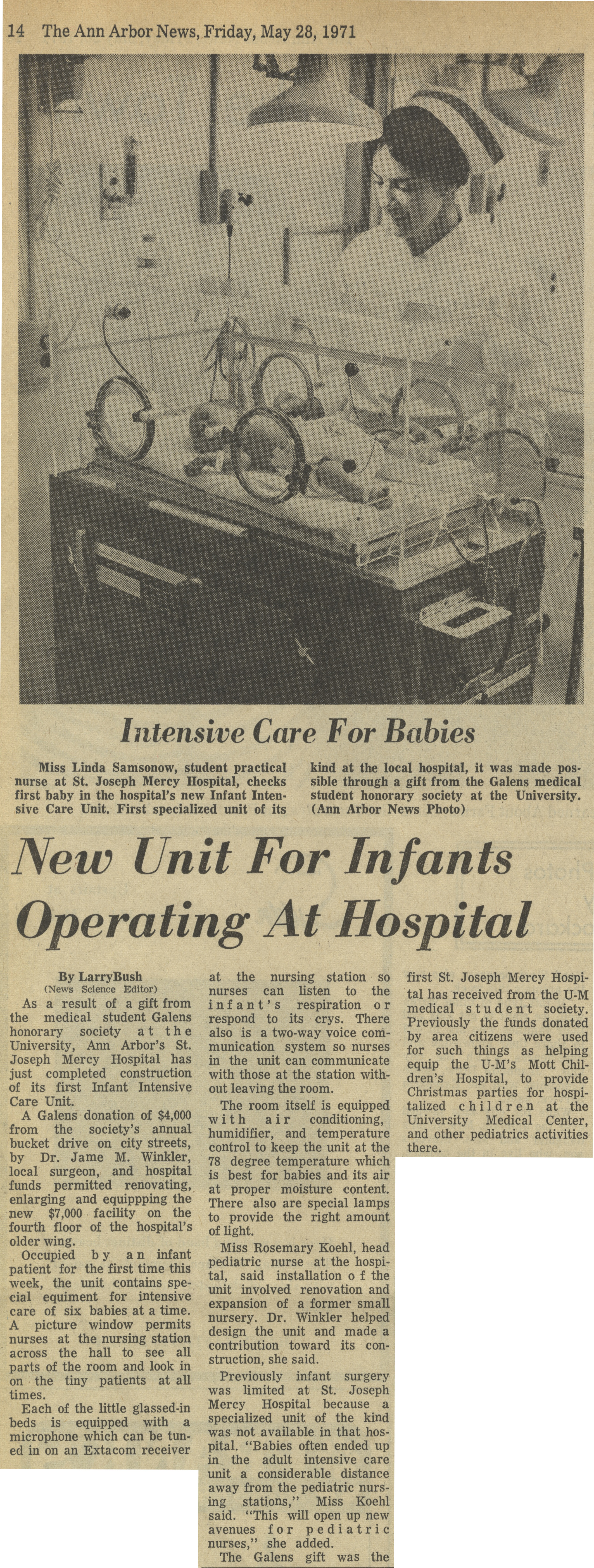 New Unit For Infants Operating At Hospital image