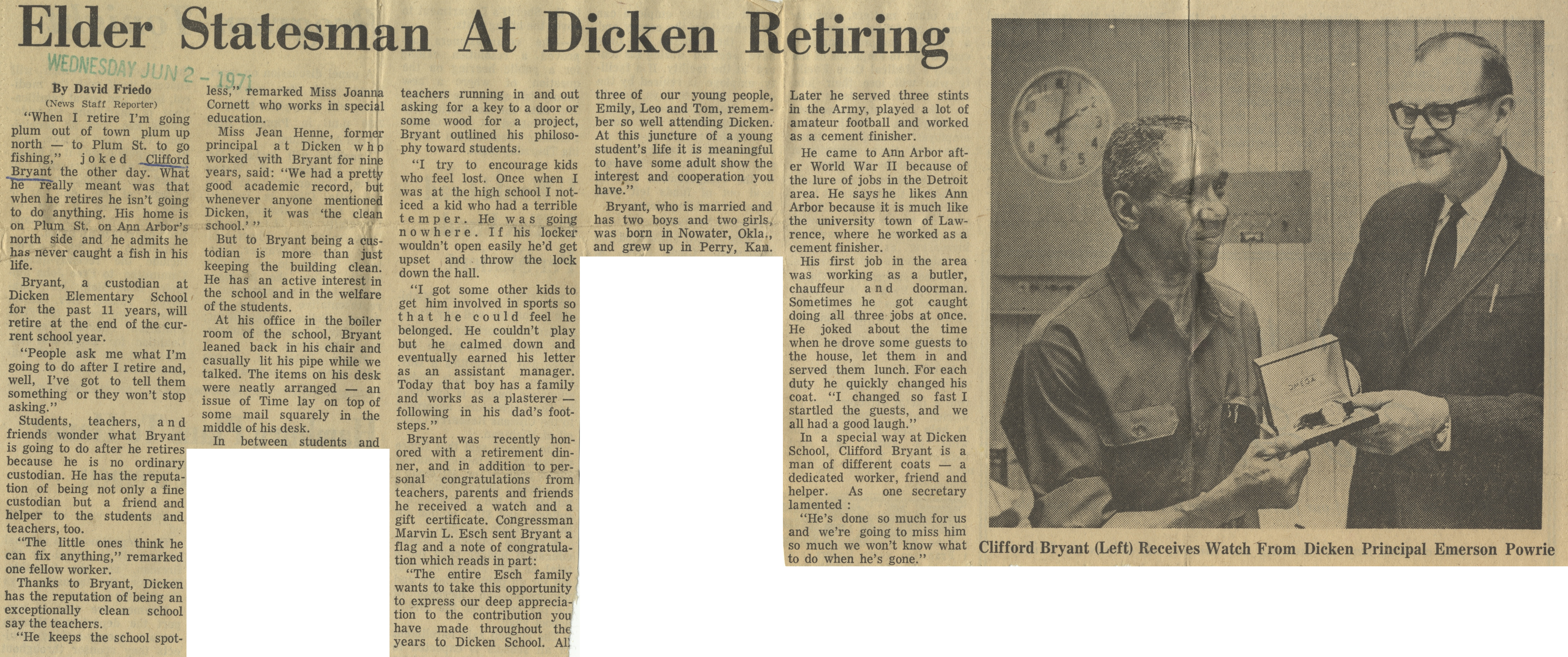 Elder Statesman At Dicken Retiring image