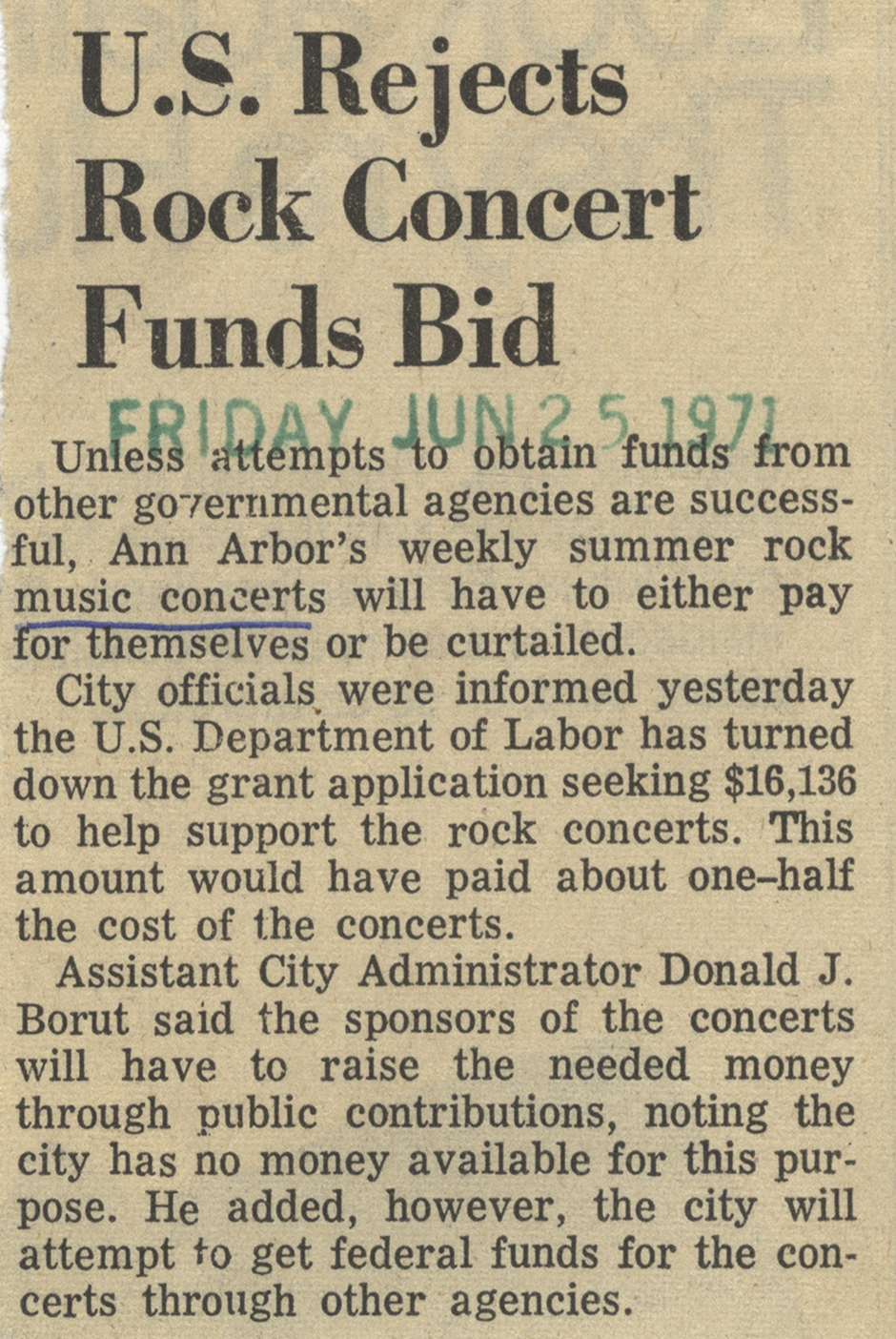 U.S. Rejects Rock Concert Funds Bid image