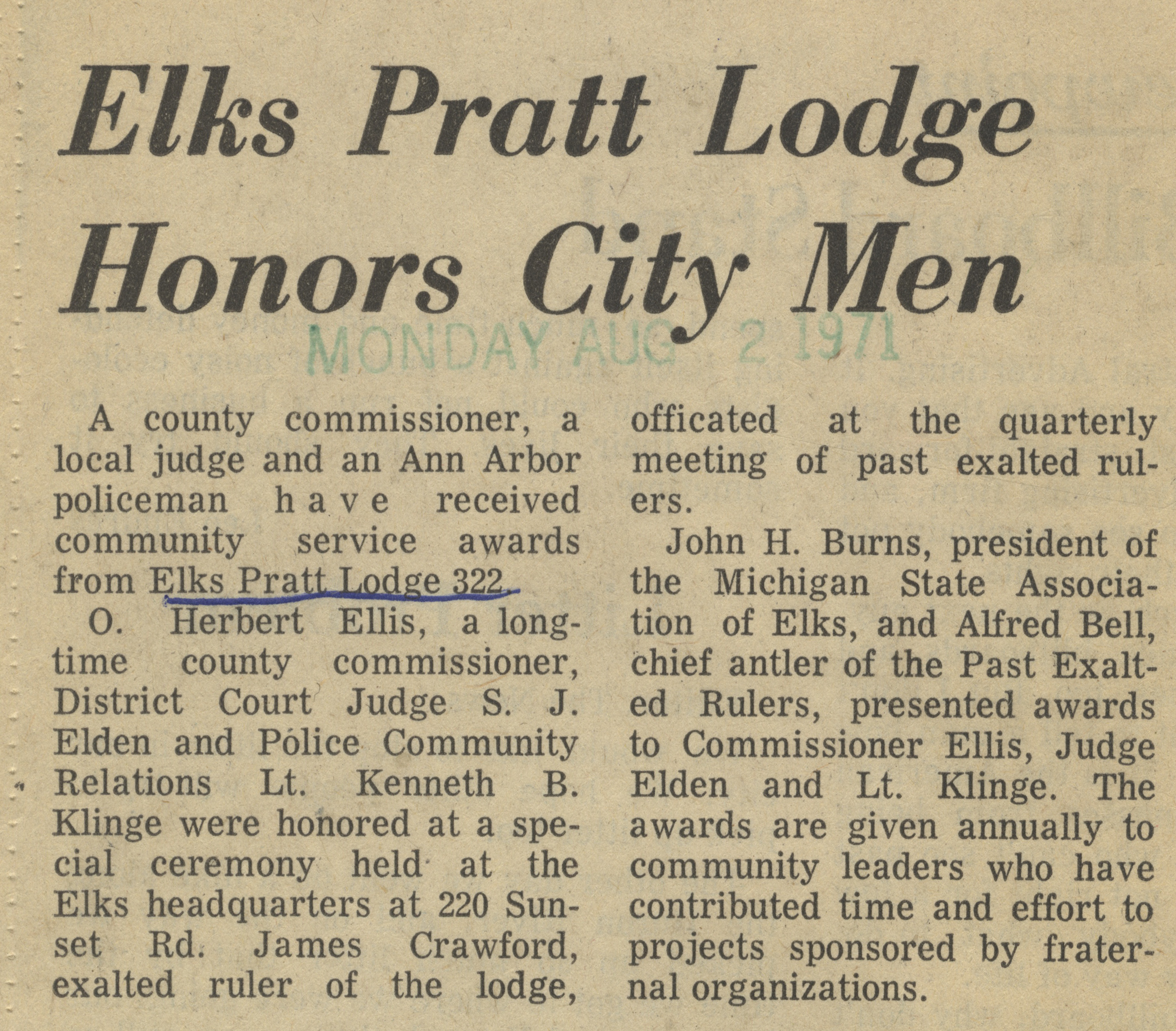 Elks Pratt Lodge Honors City Men image