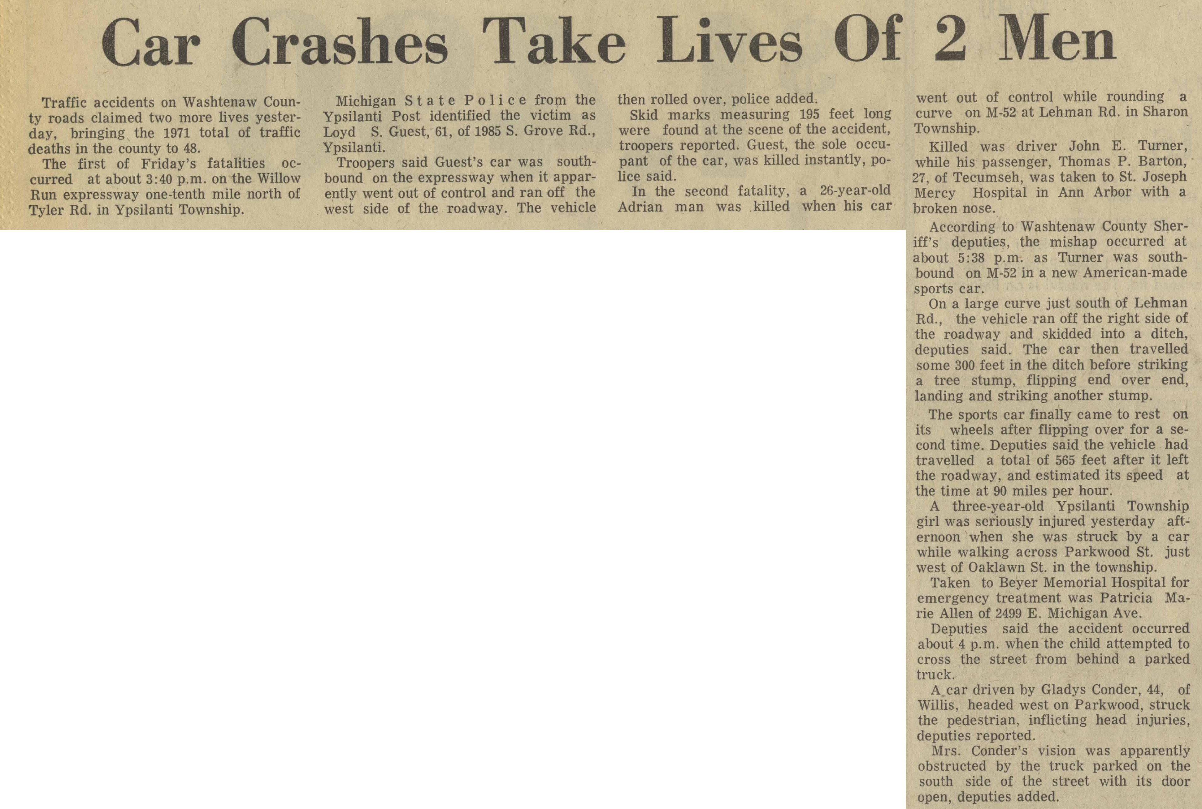 Car Crashes Take Lives Of 2 Men | Ann Arbor District Library