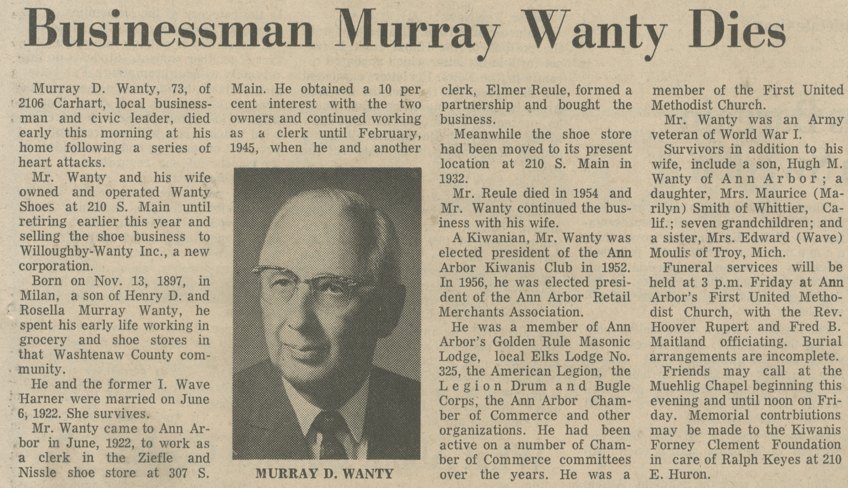Businessman Murray Wanty Dies image