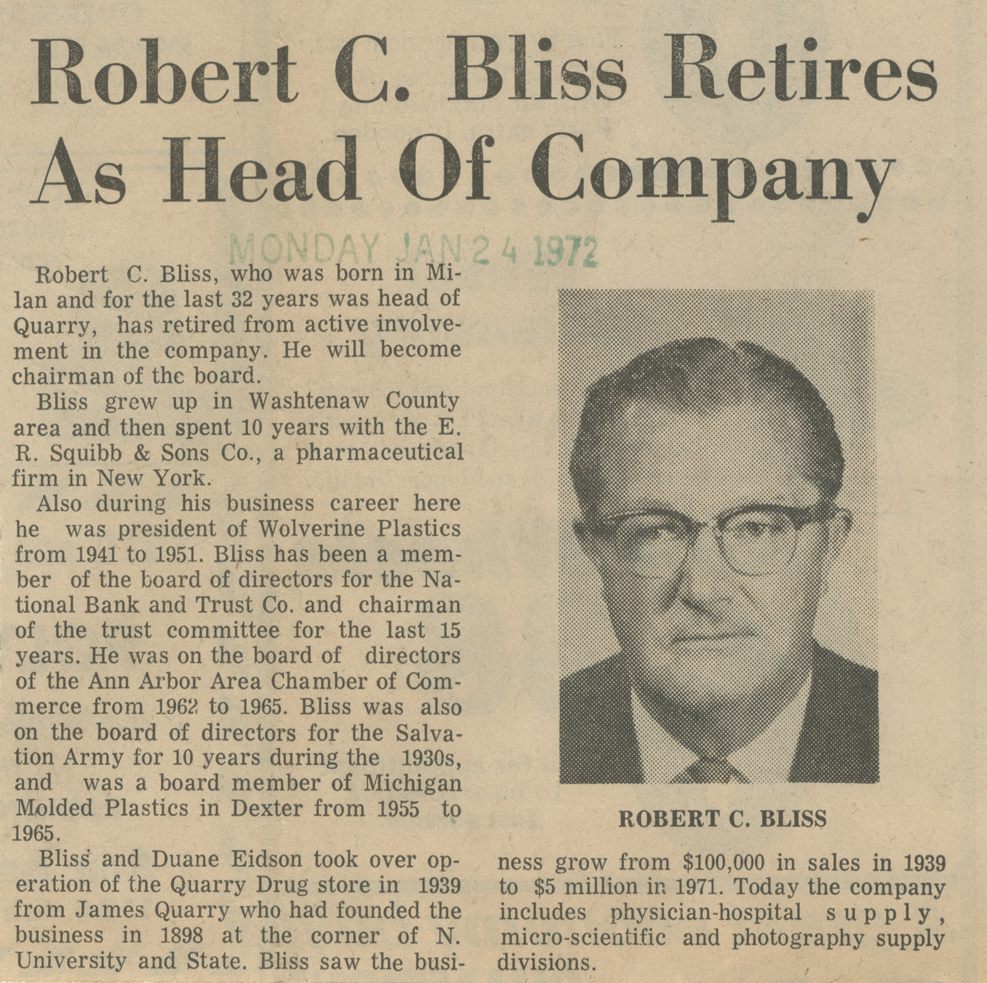 Robert C. Bliss Retires As Head Of Company image