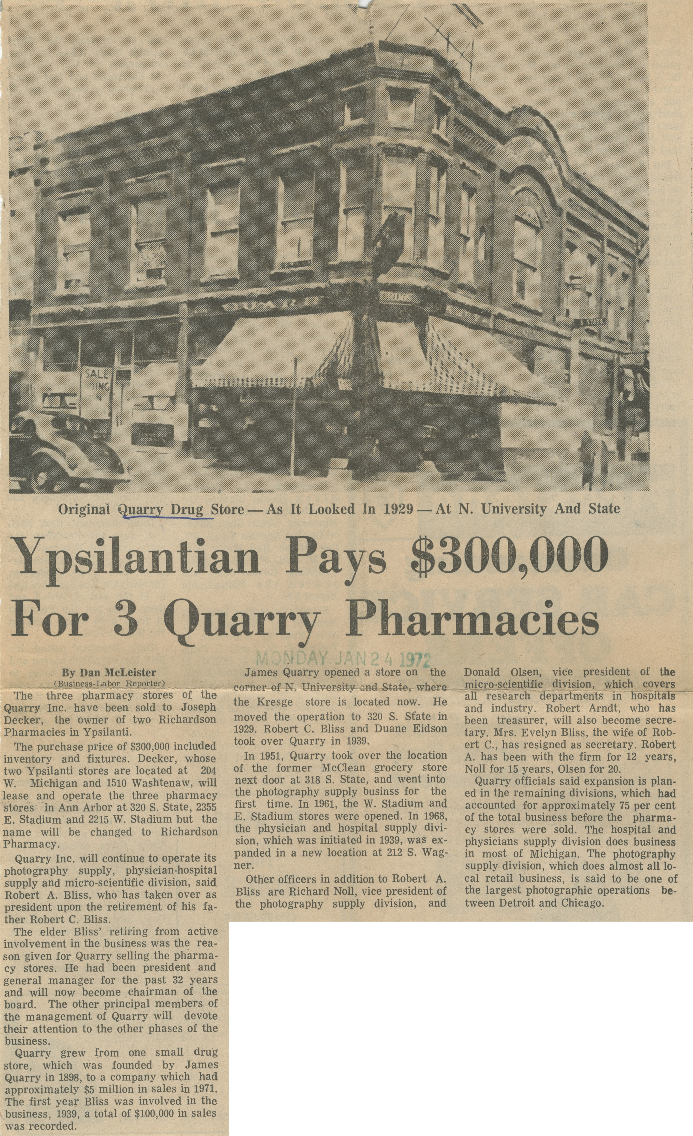 Ypsilantian Pays $300,000 For 3 Quarry Pharmacies image