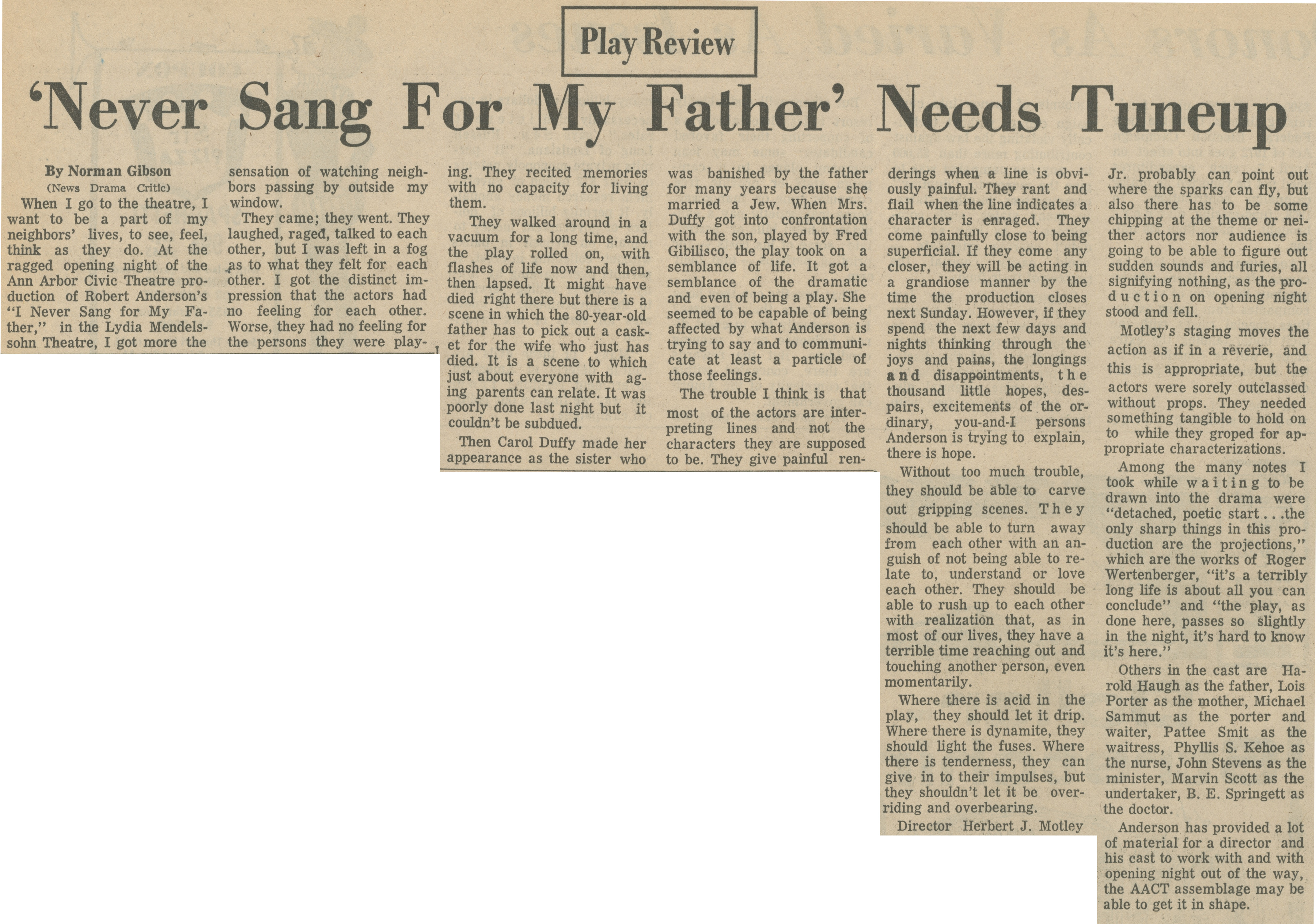 'Never Sang For My Father' Needs Tuneup image