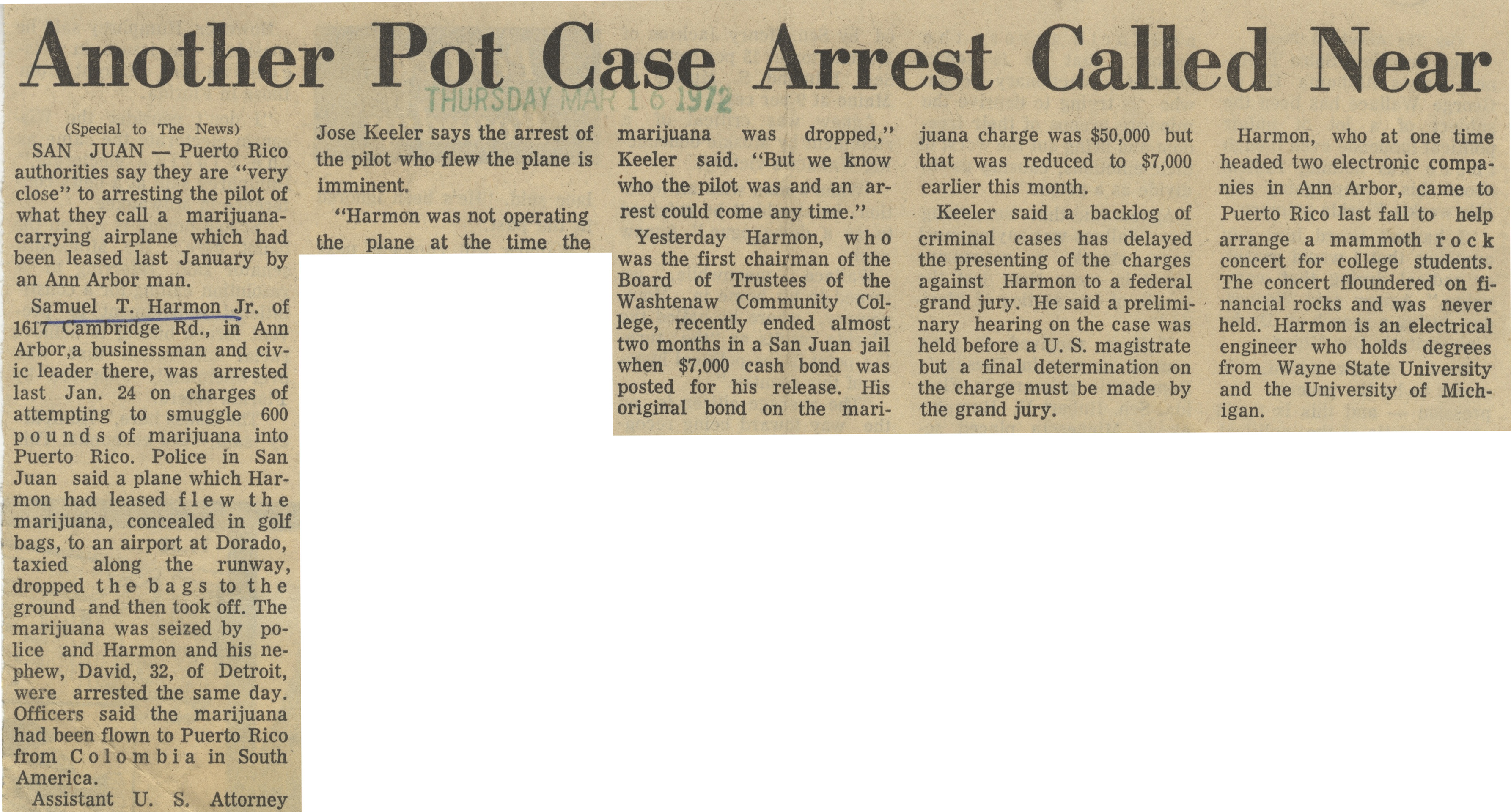 Another Pot Case Arrest Called Near image