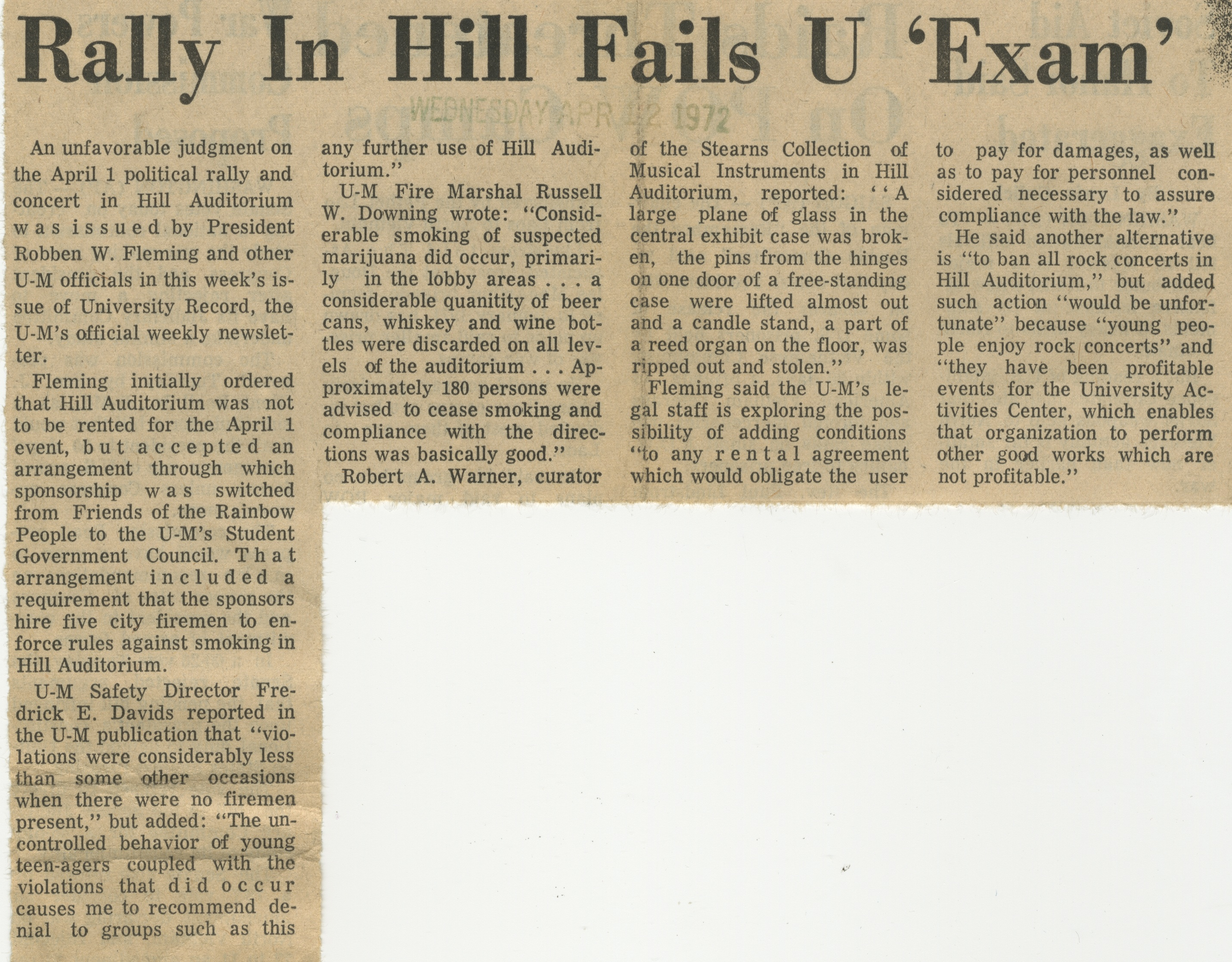 "Rally In Hill Fails U ""Exam"" image"
