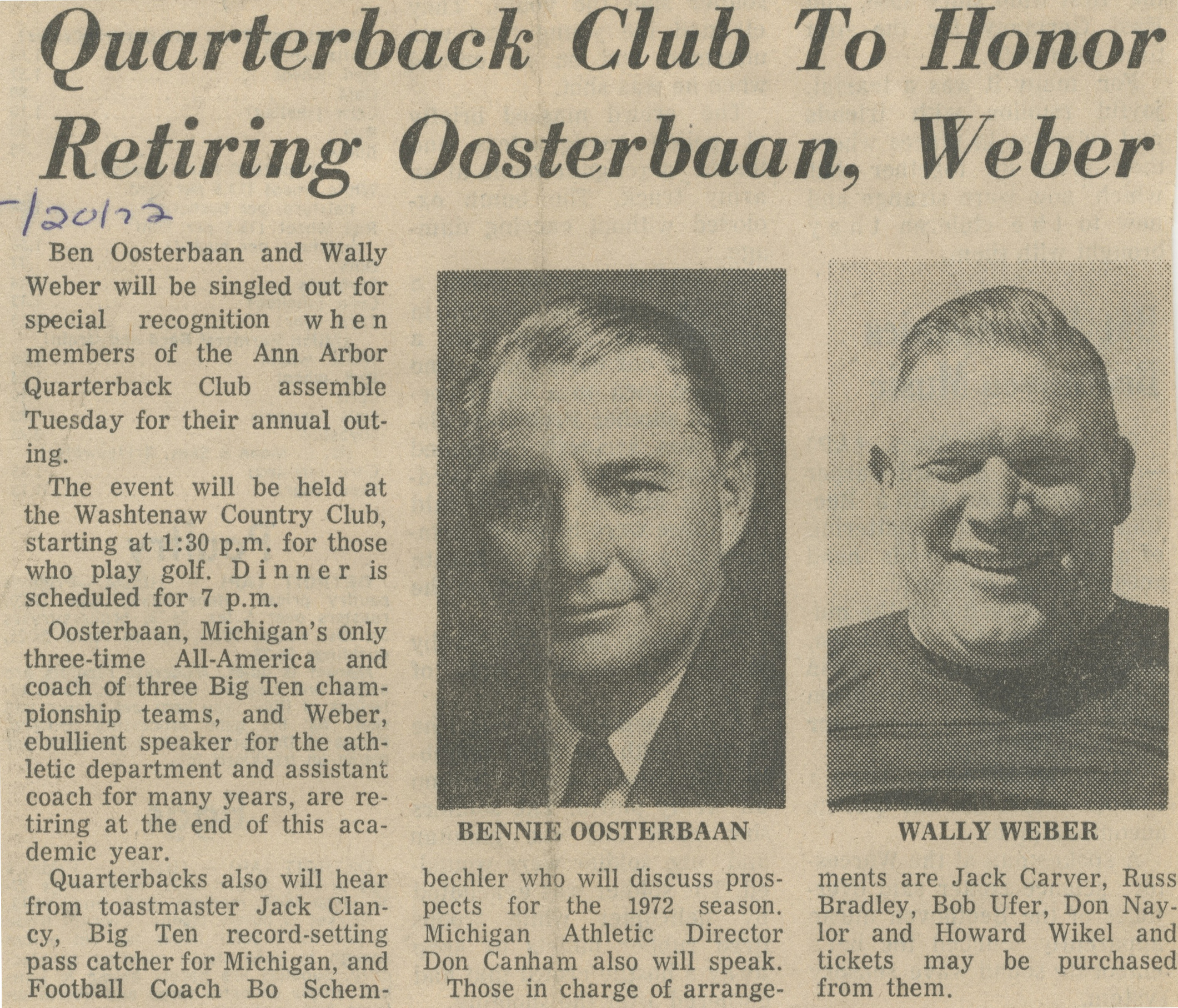 Quarterback Club To Honor Retiring Oosterbaan, Weber image