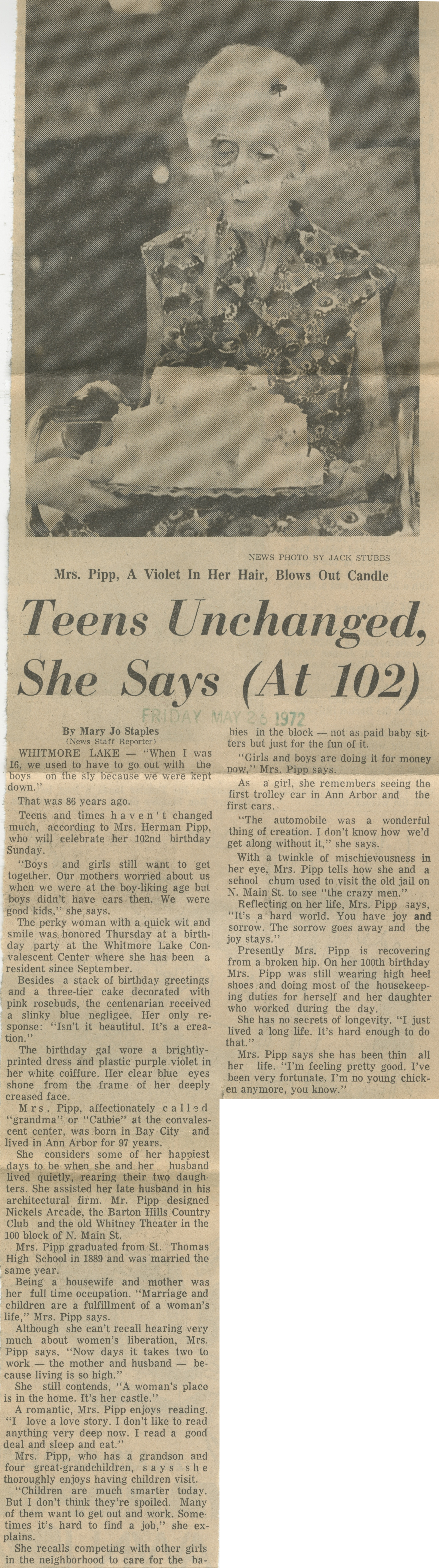 Teens Unchanged She Says (At 102) image