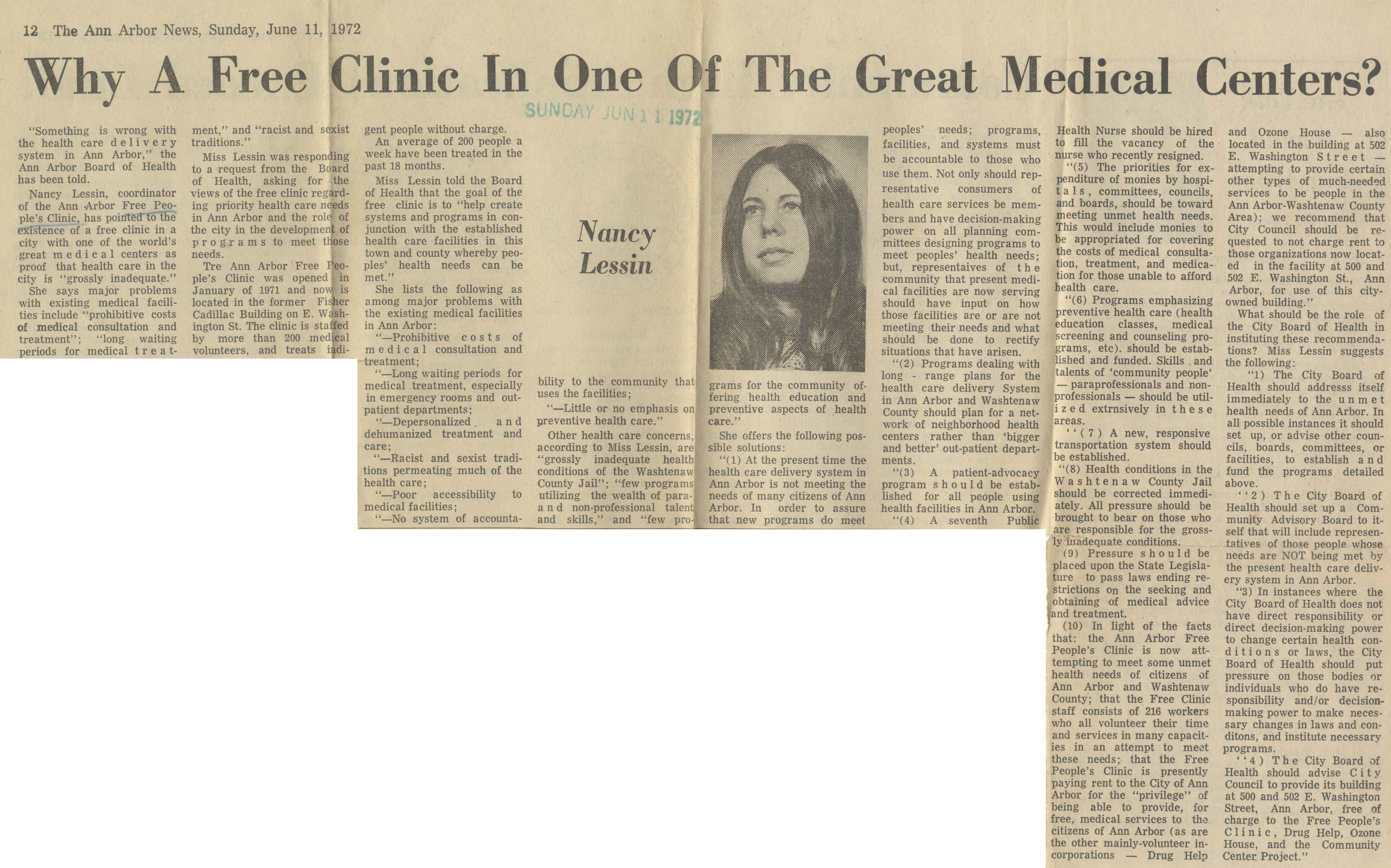 Why A Free Clinic In One Of The Great Medical Centers? image
