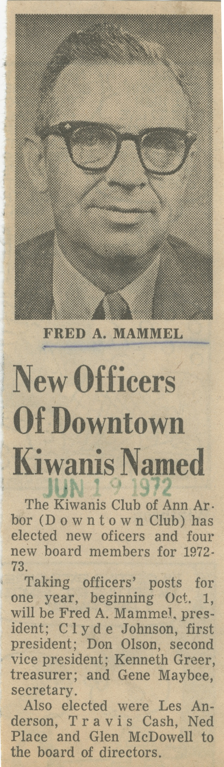 New Officers Of Downtown Kiwanis Named image