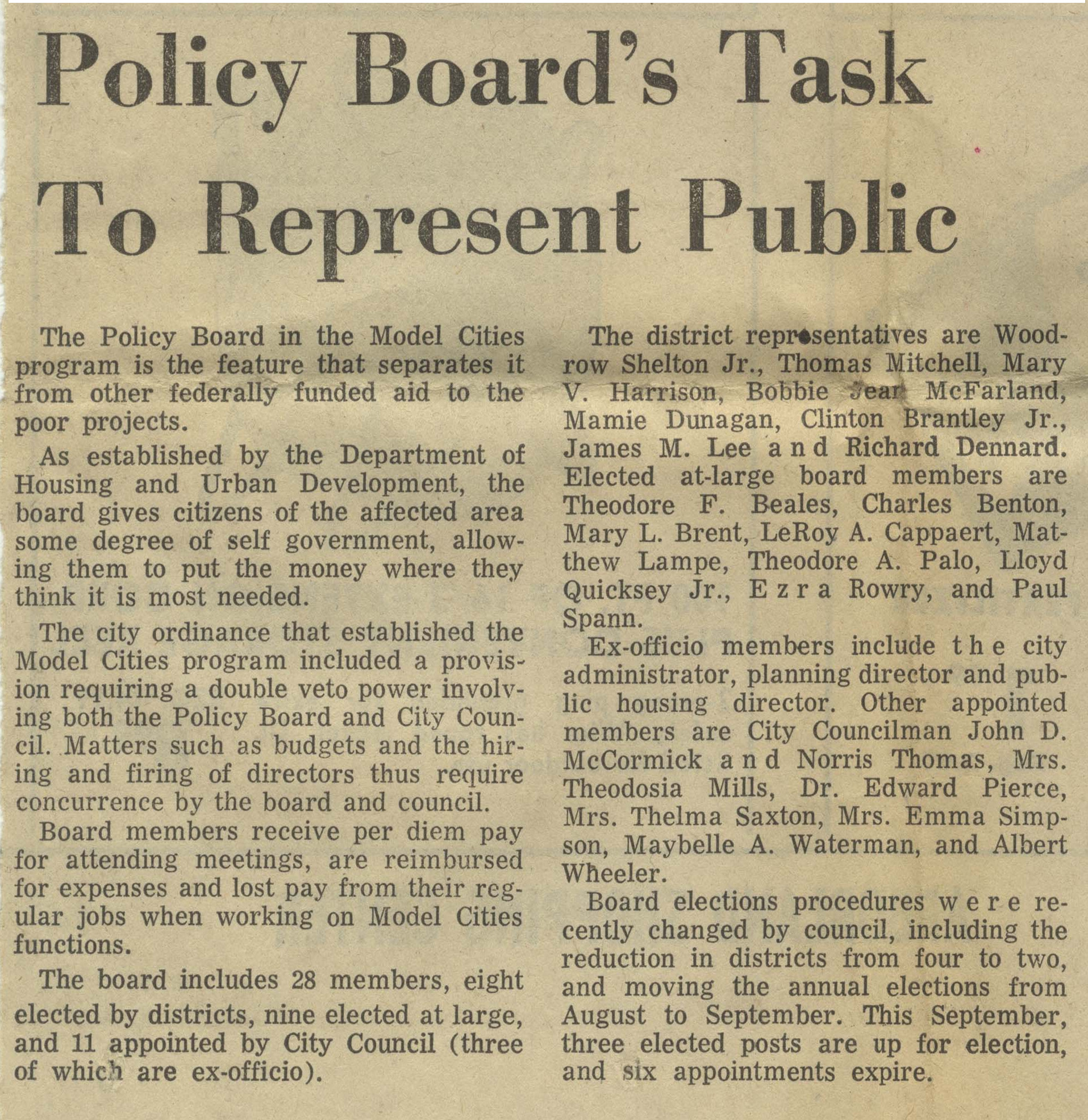 Policy Board's Task To Represent Public image