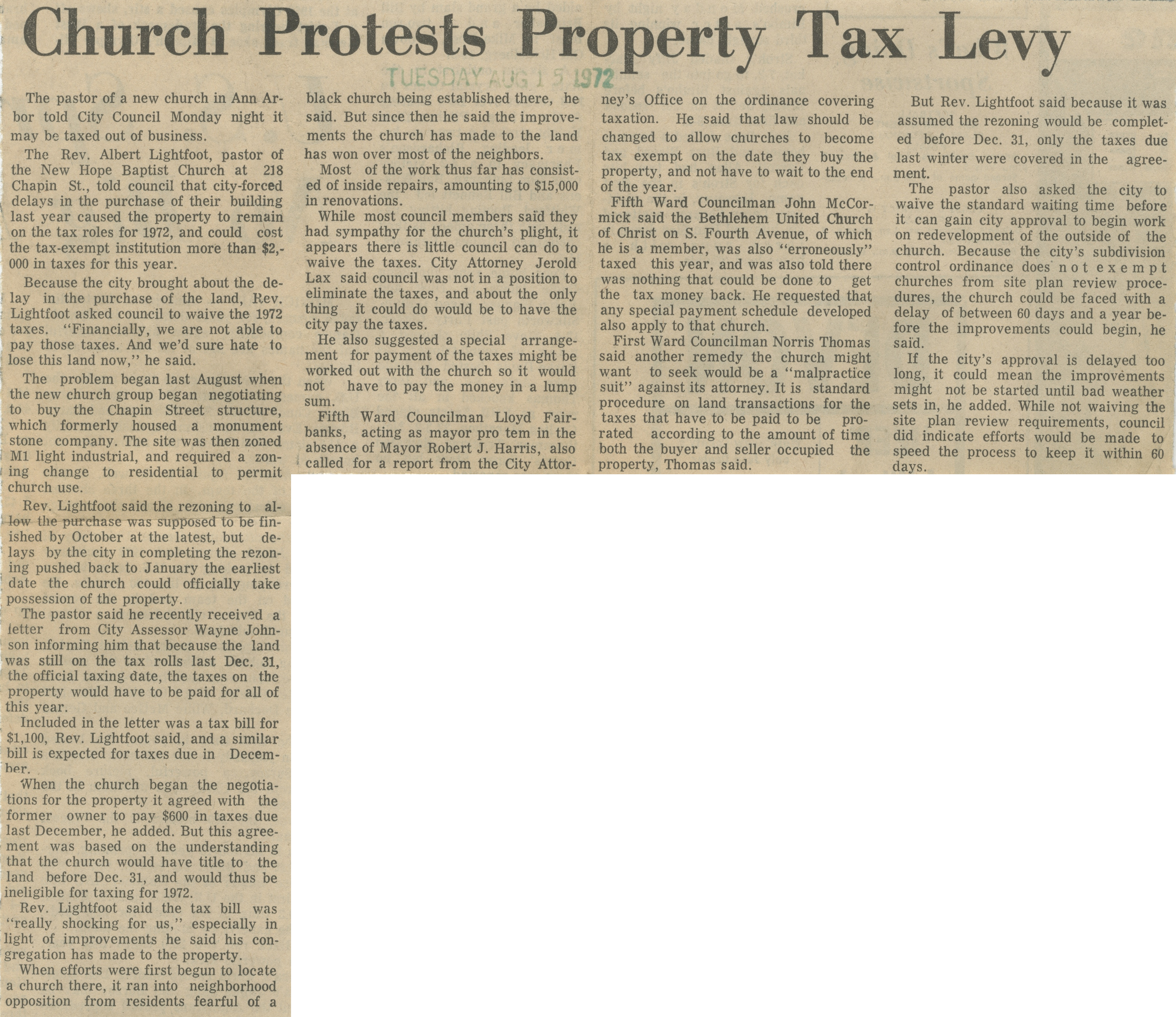Church Protest Property Tax Levy image