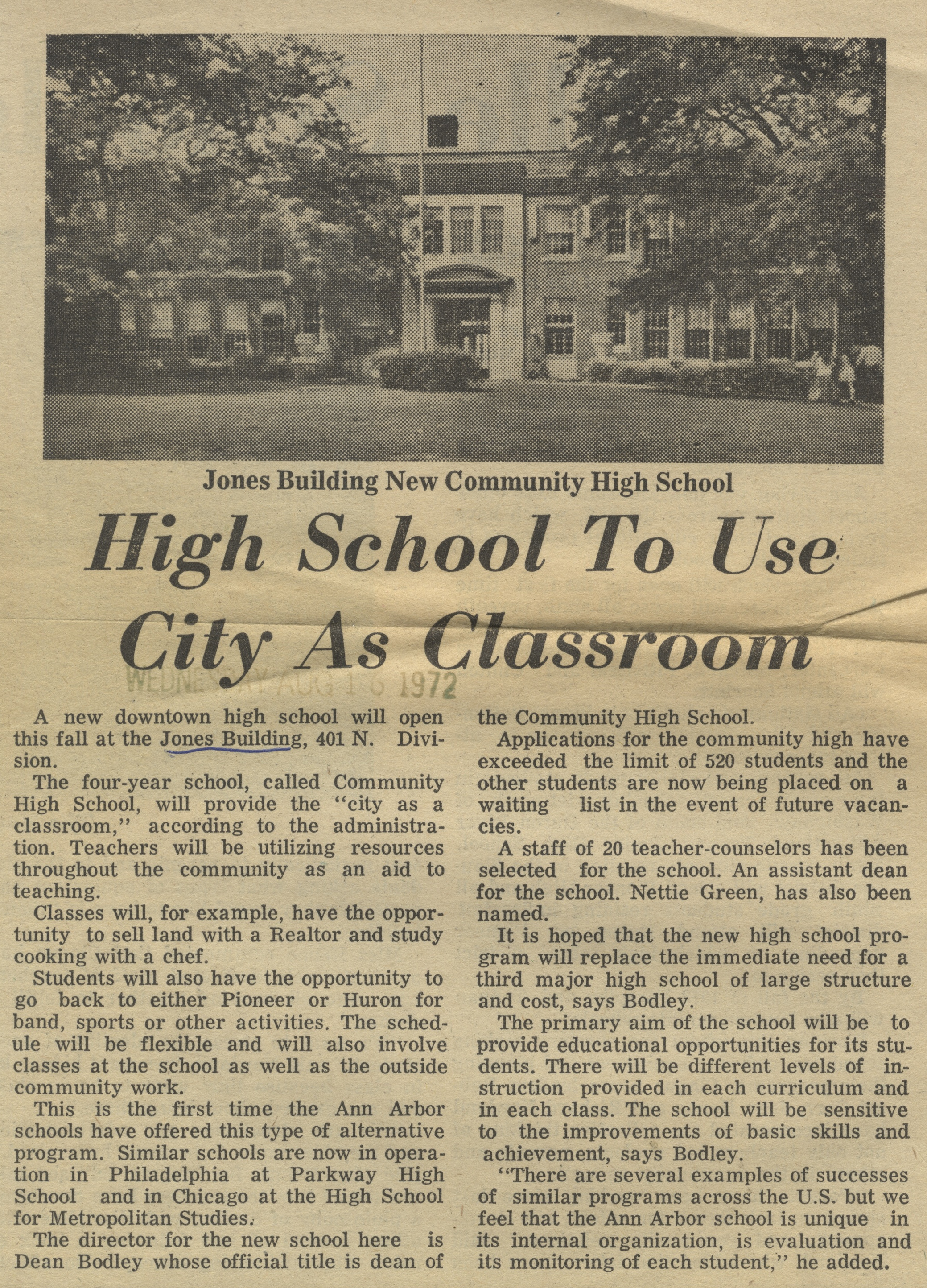 High School To Use City As Classroom image