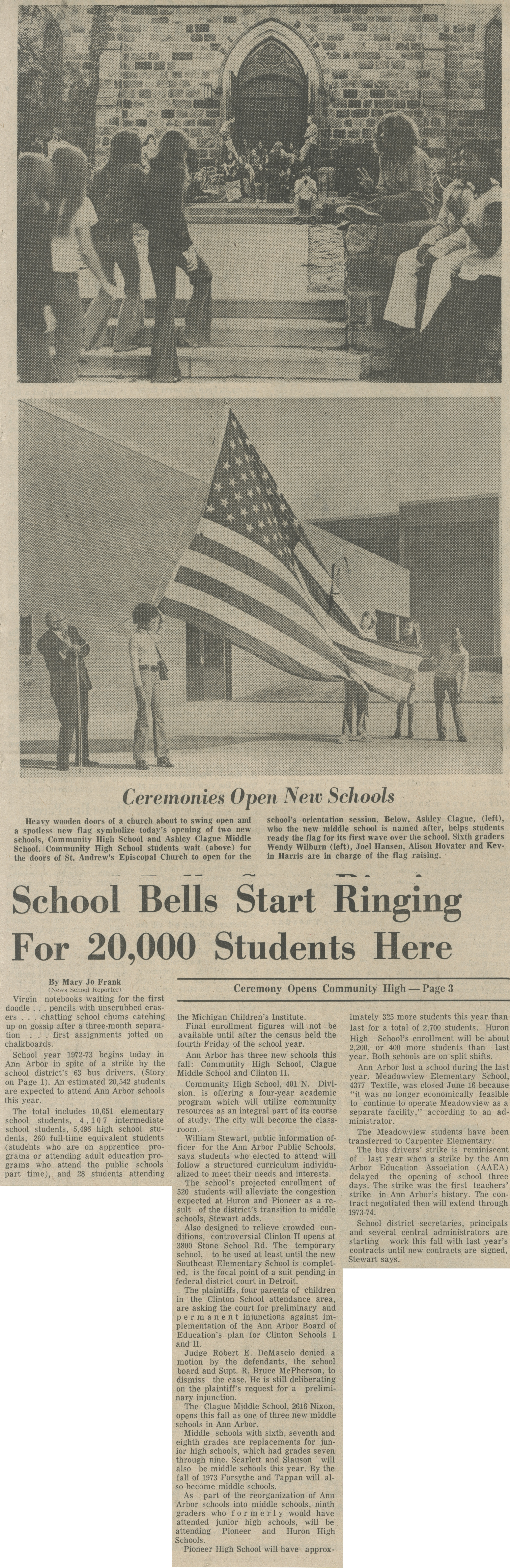 School Bells Start Ringing For 20,000 Students Here image
