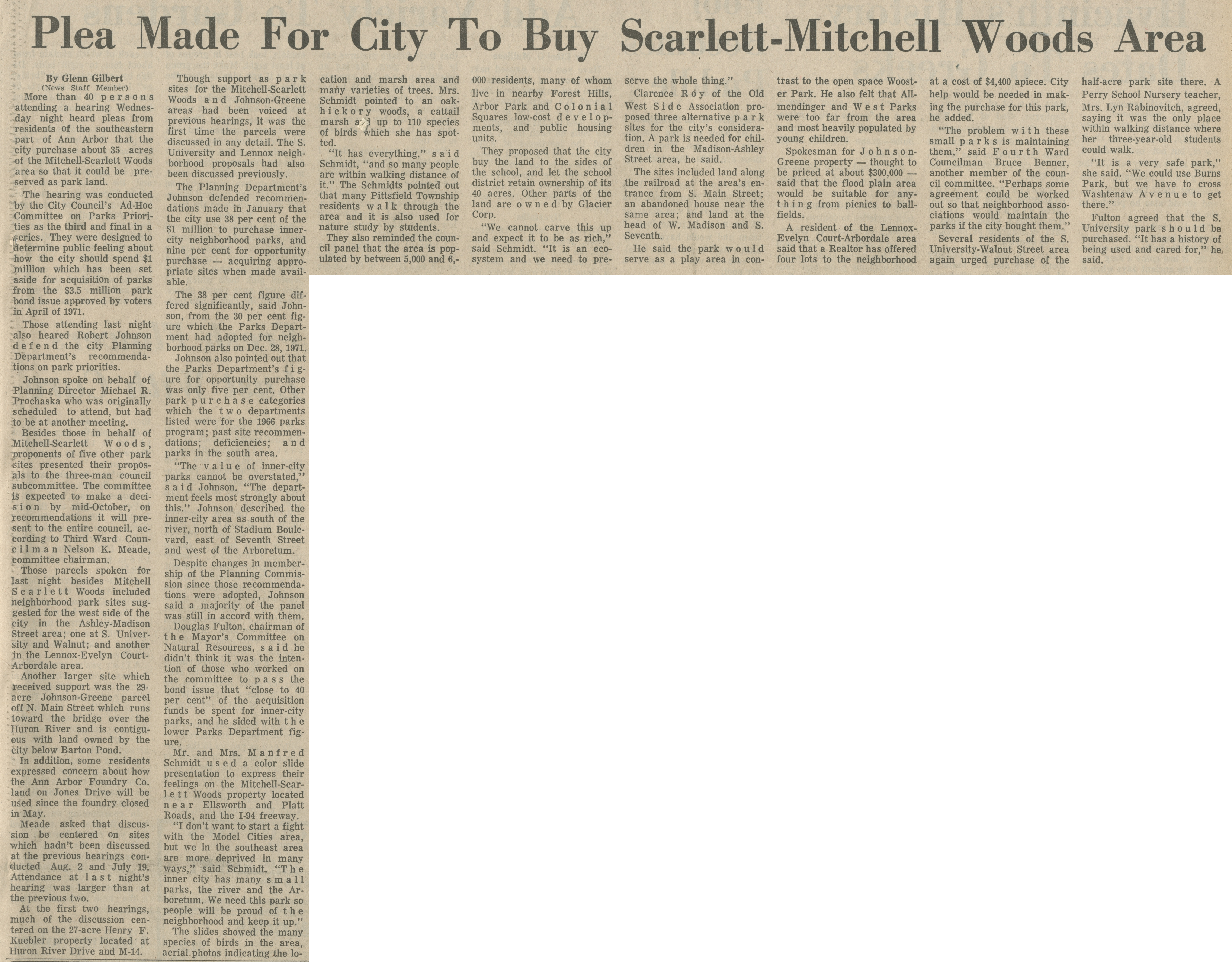Plea Made For City To Buy Scarlett-Mitchell Woods Area image