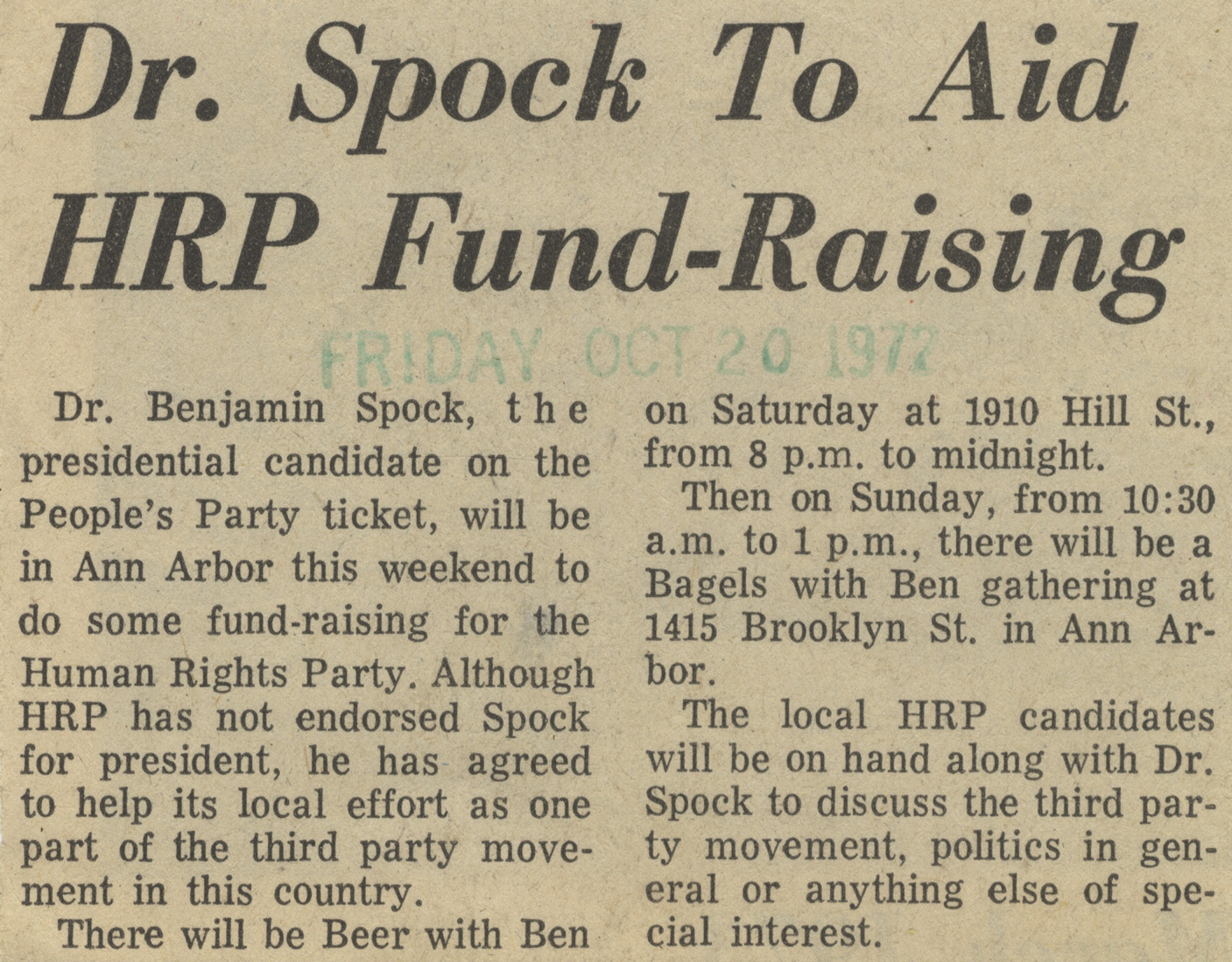 Dr. Spock To Aid HRP Fund-Raising image