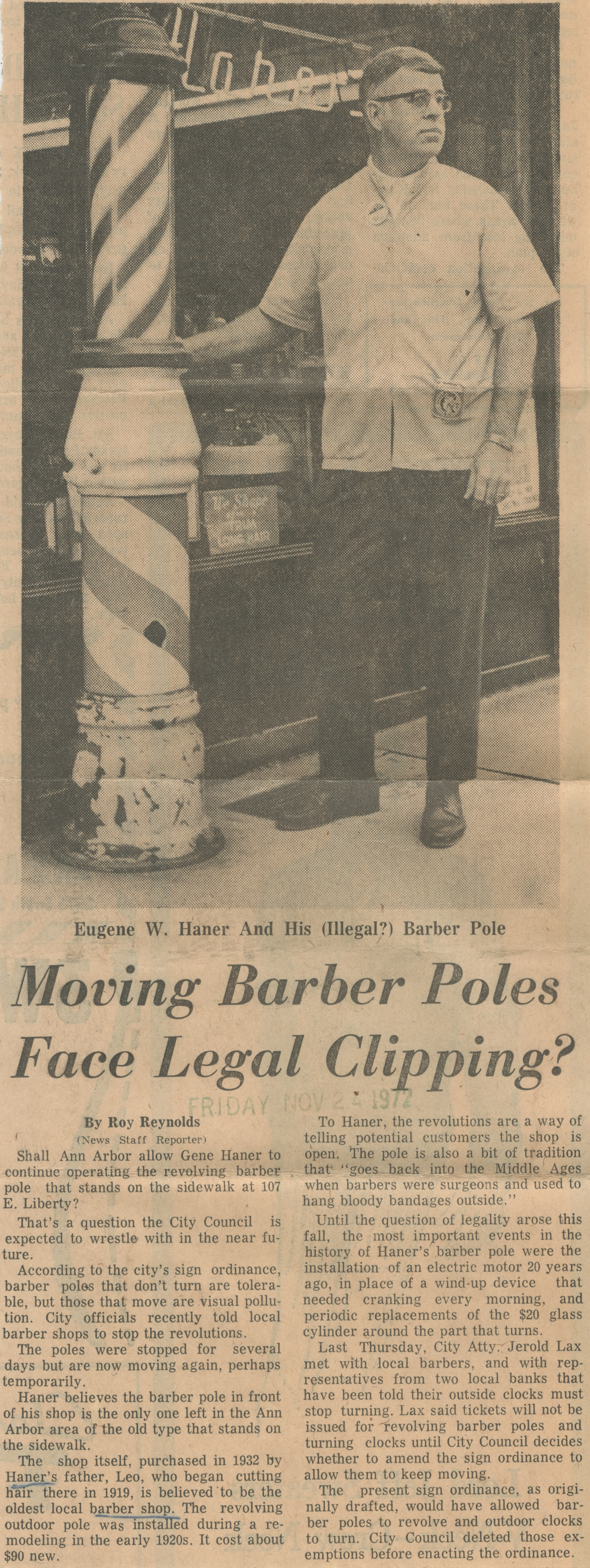 Moving Barber Poles Face Legal Clipping? image