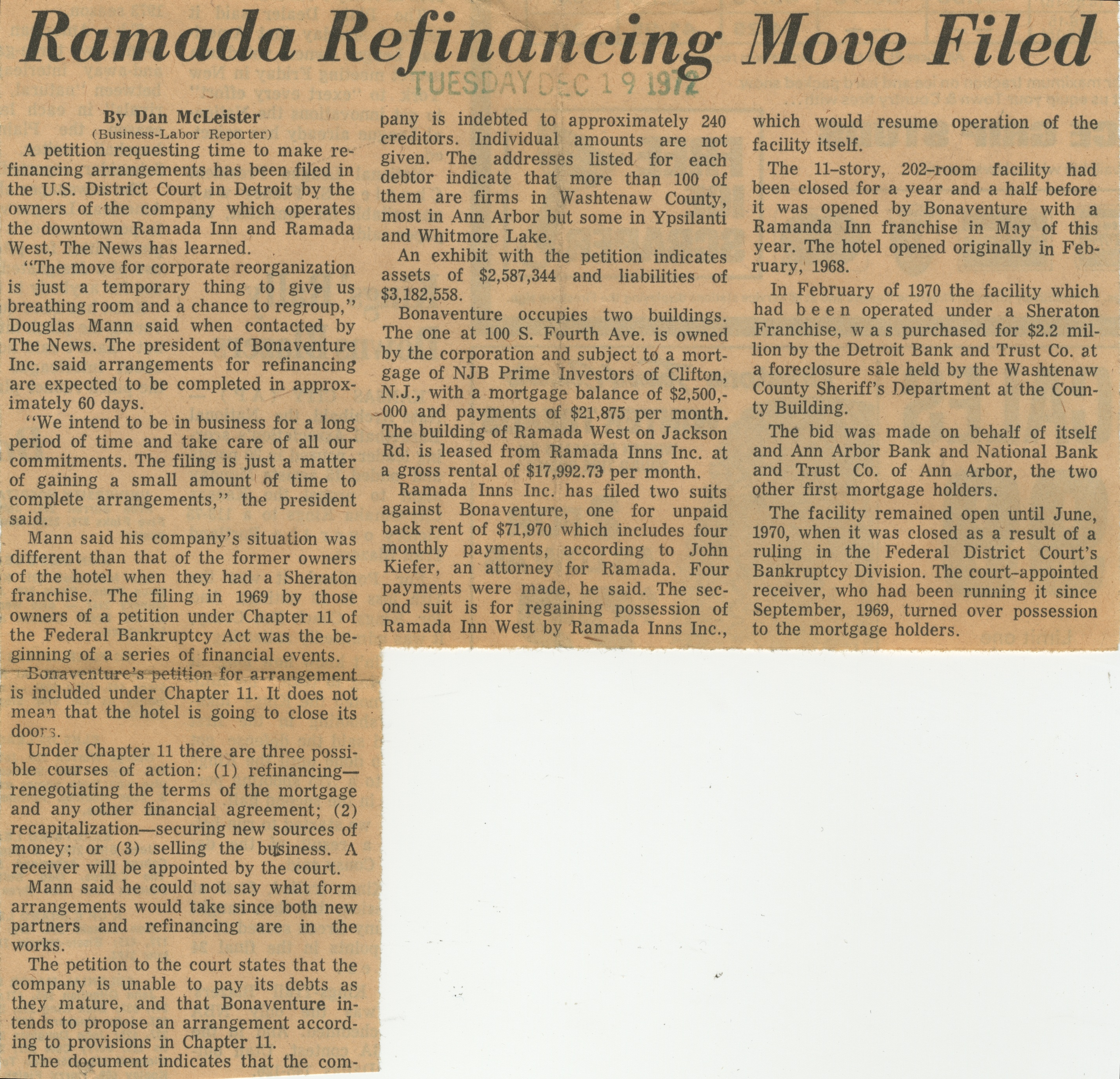 Ramada Refinancing Move Filed image