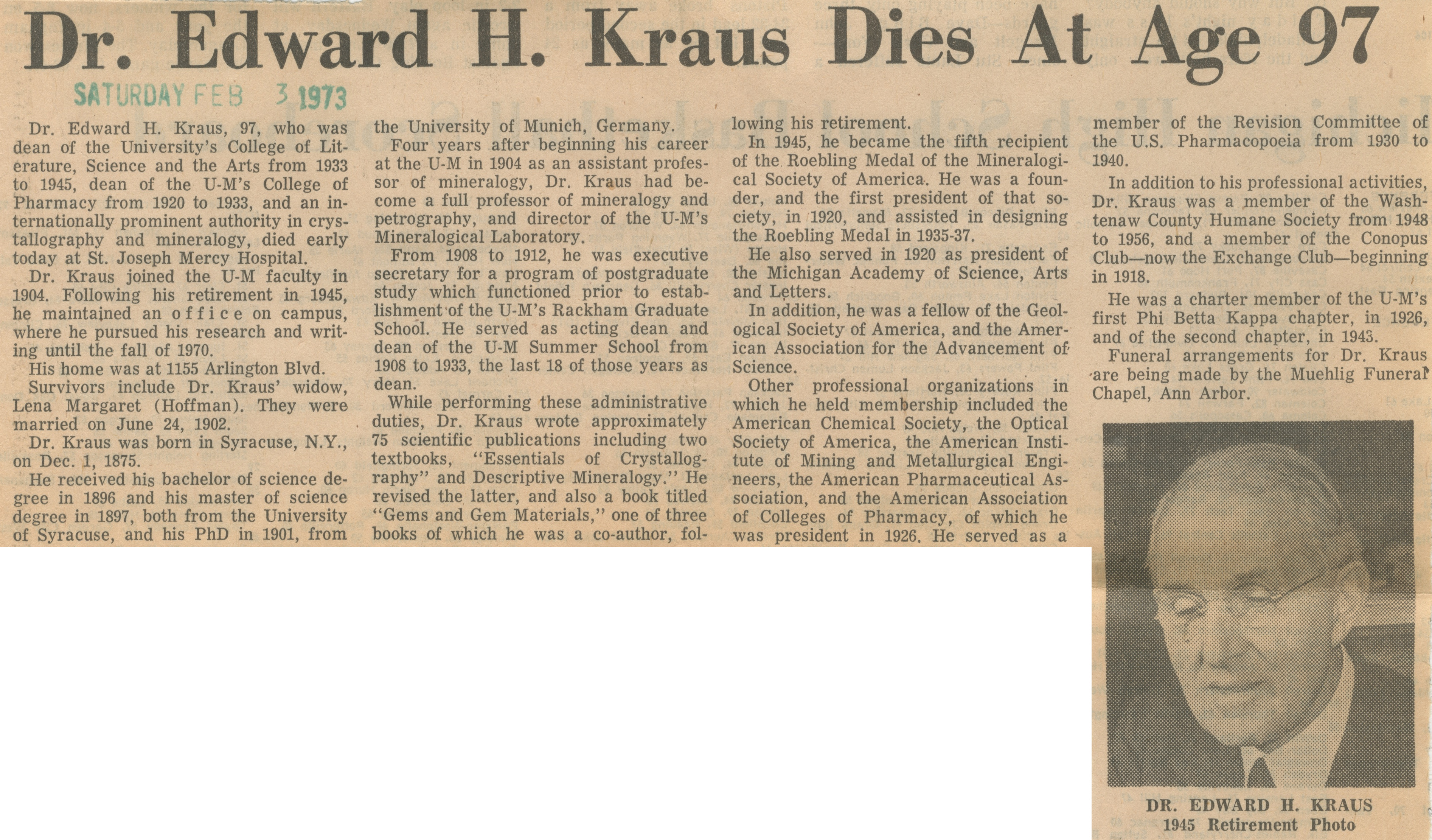 Dr. Edward H. Kraus Dies At Age 97 image