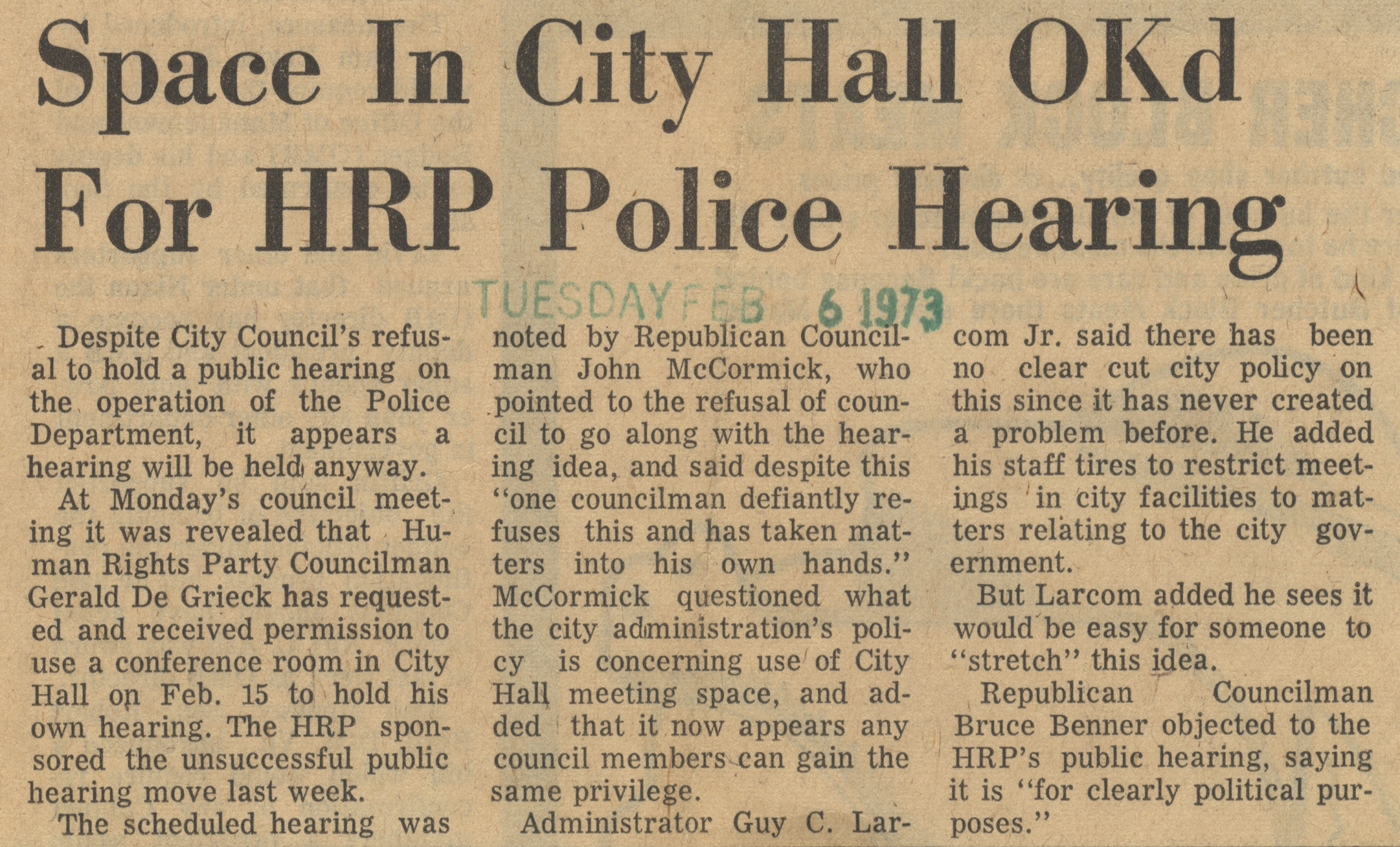 Space In City Hall OKd For HRP Police Hearing image