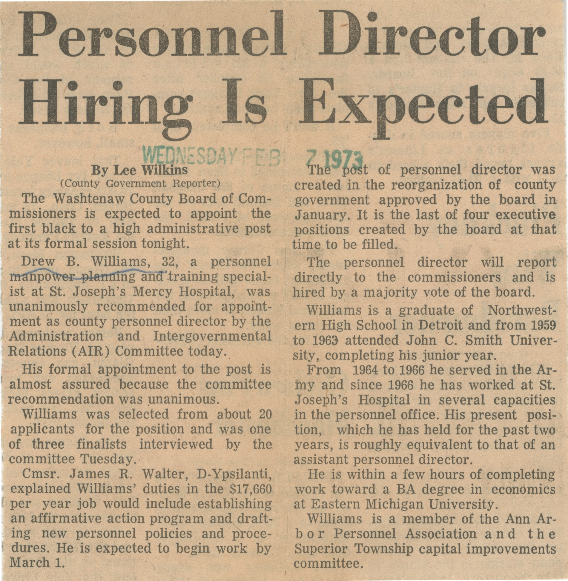 Personnel Director Hiring Is Expected image