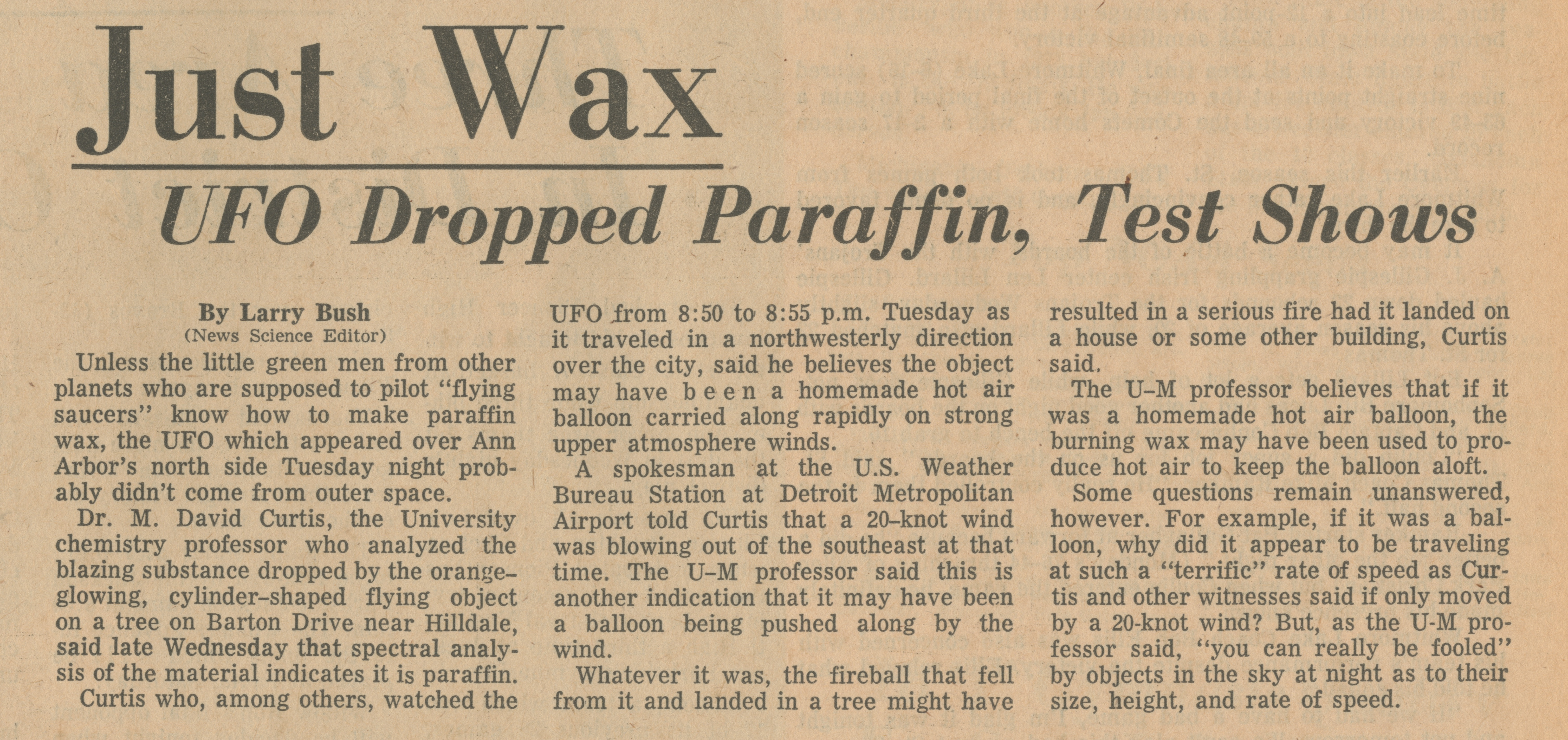 Just Wax - UFO Dropped Paraffin, Test Shows image