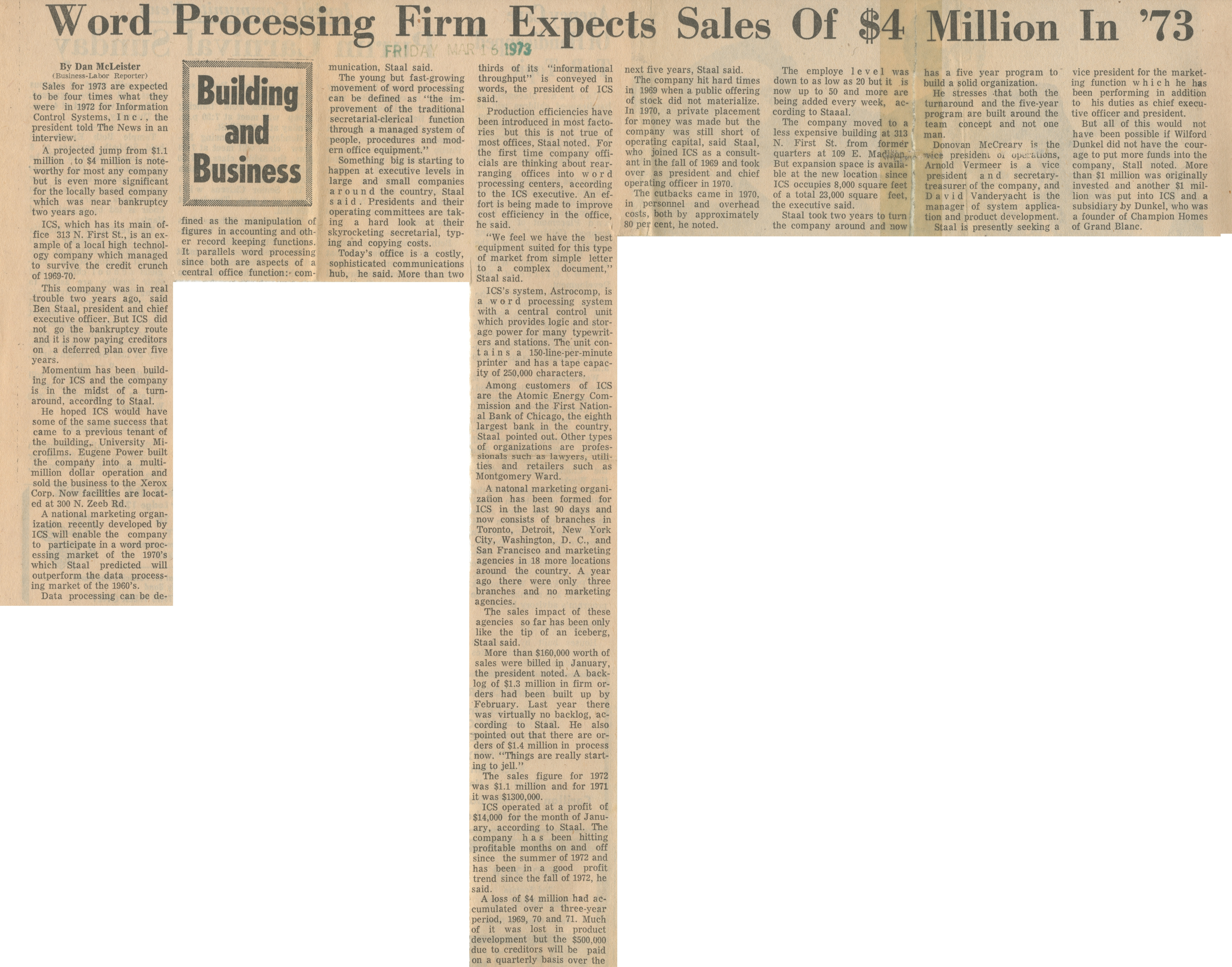 Word Processing Firm Expects Sales of $4 Million in '73 image