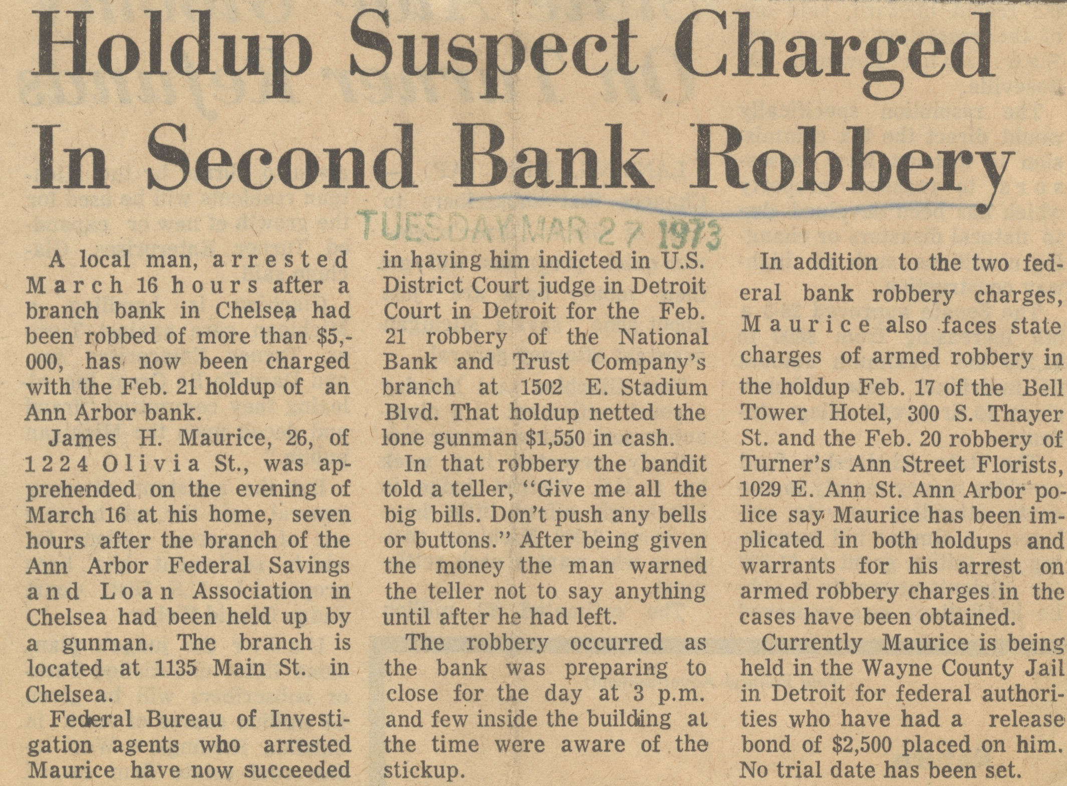 Holdup Suspect Charged In Second Bank Robbery image