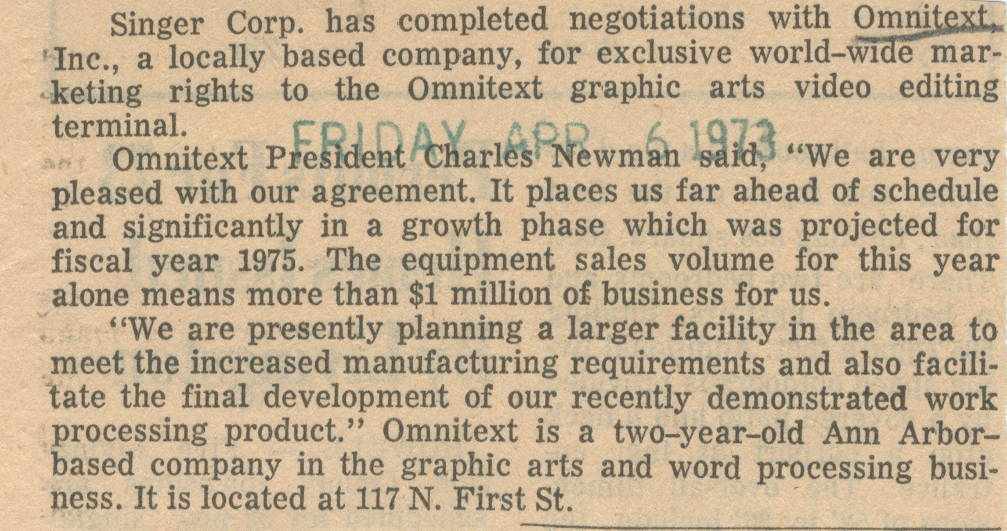 Singer Corp. has completed negotiations with Omnitext, Inc. image
