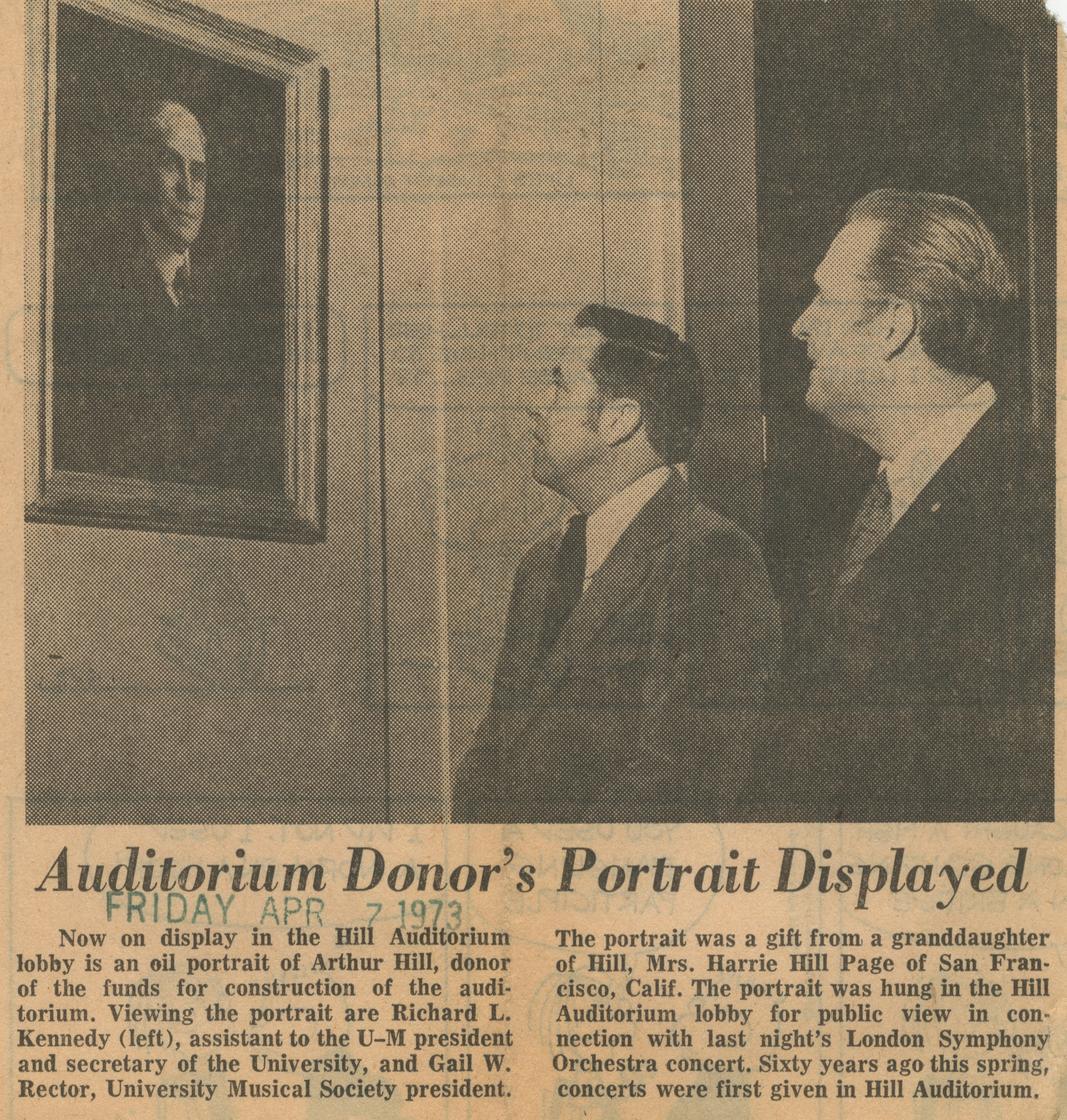 Auditorium Donor's Portrait Displayed image