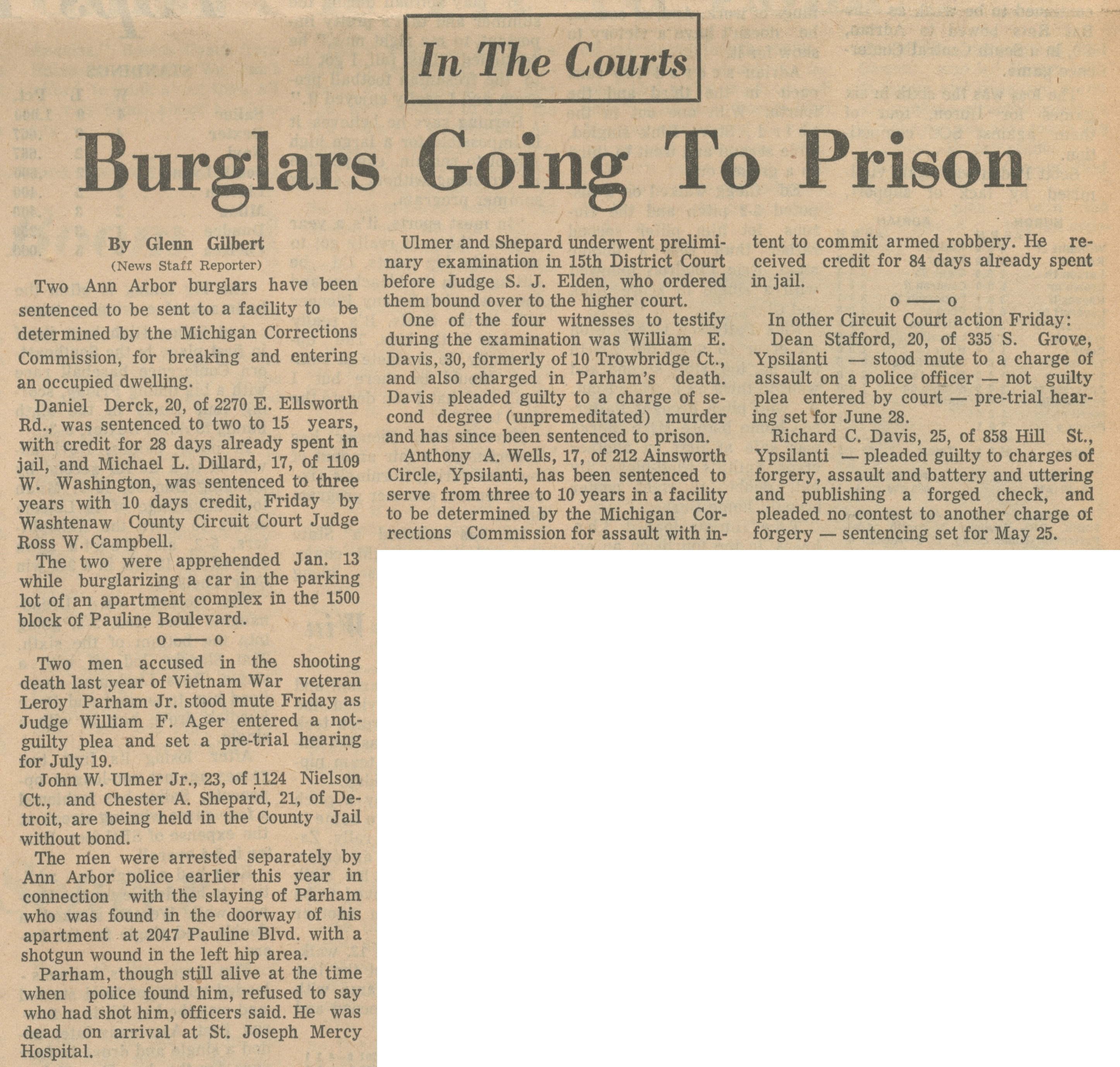 In The Courts - Burglars Going To Prison image