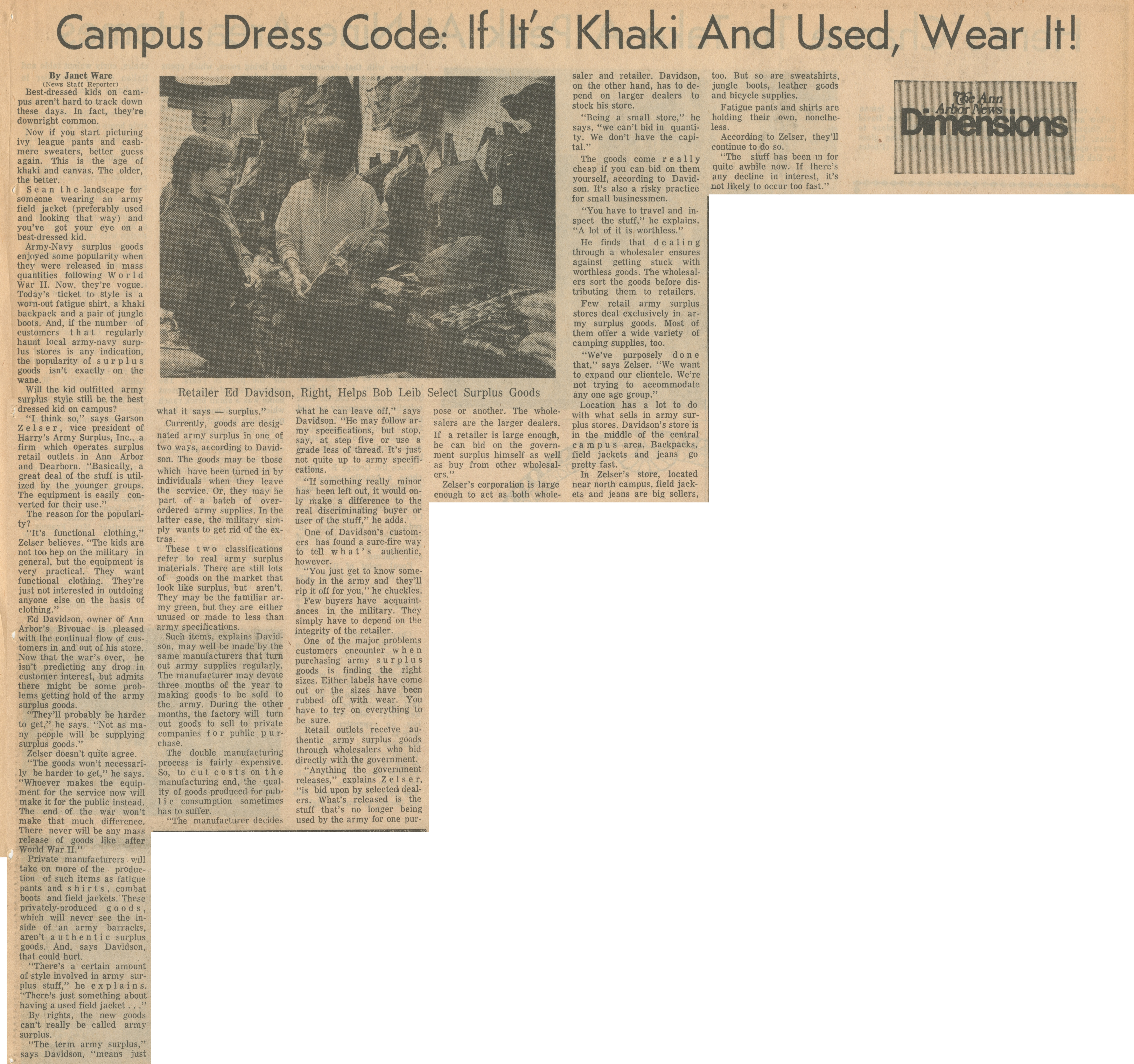 Campus Dress Code: If It's Khaki And Used, Wear It! image