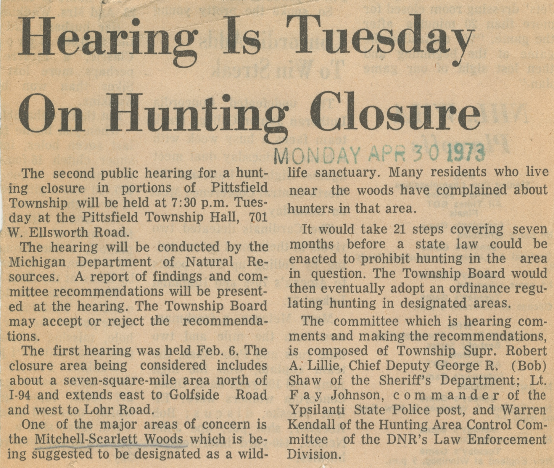 Hearing Is Tuesday On Hunting Closure image