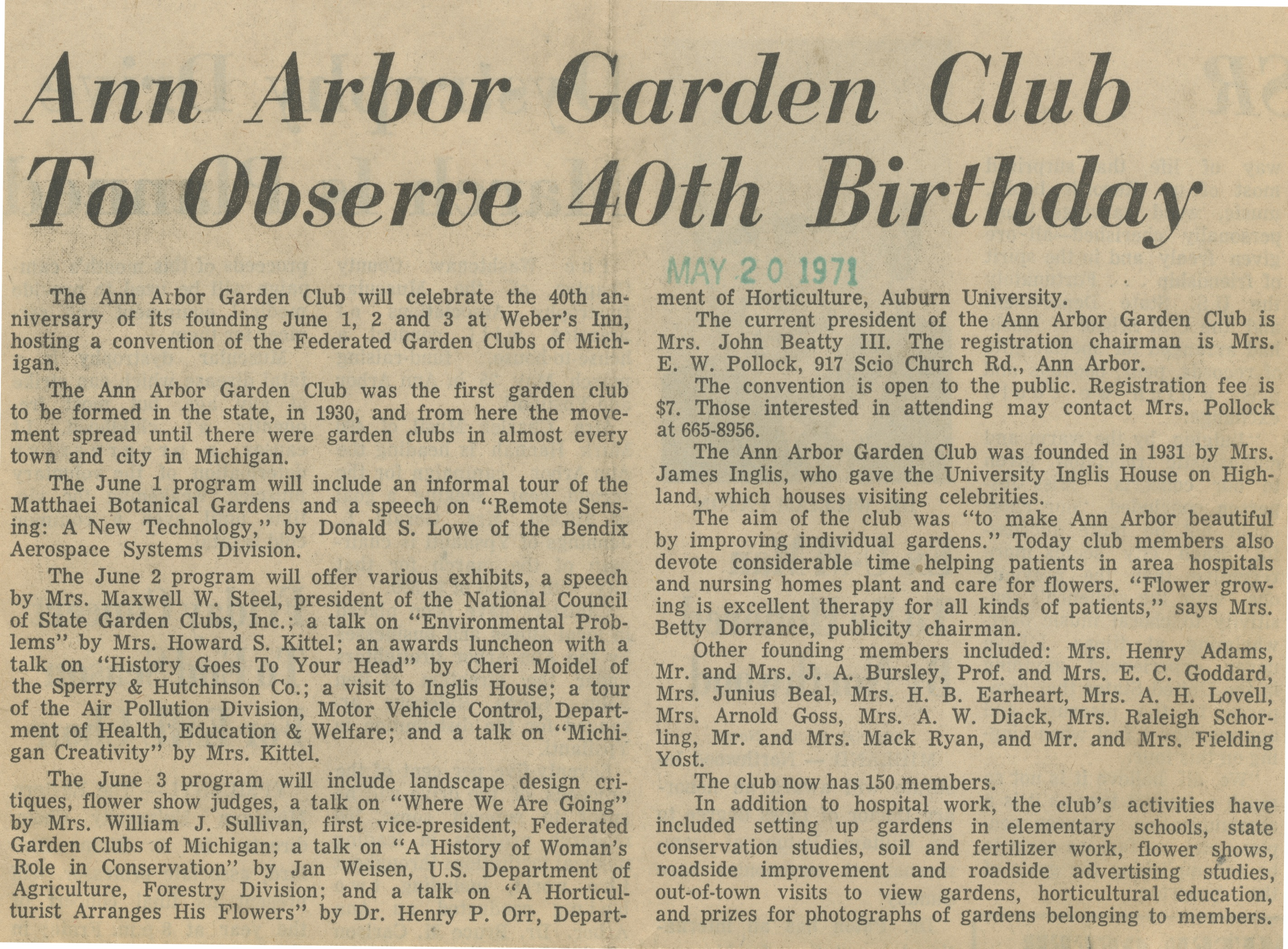 Ann Arbor Garden Club To Observe 40th Birthday image