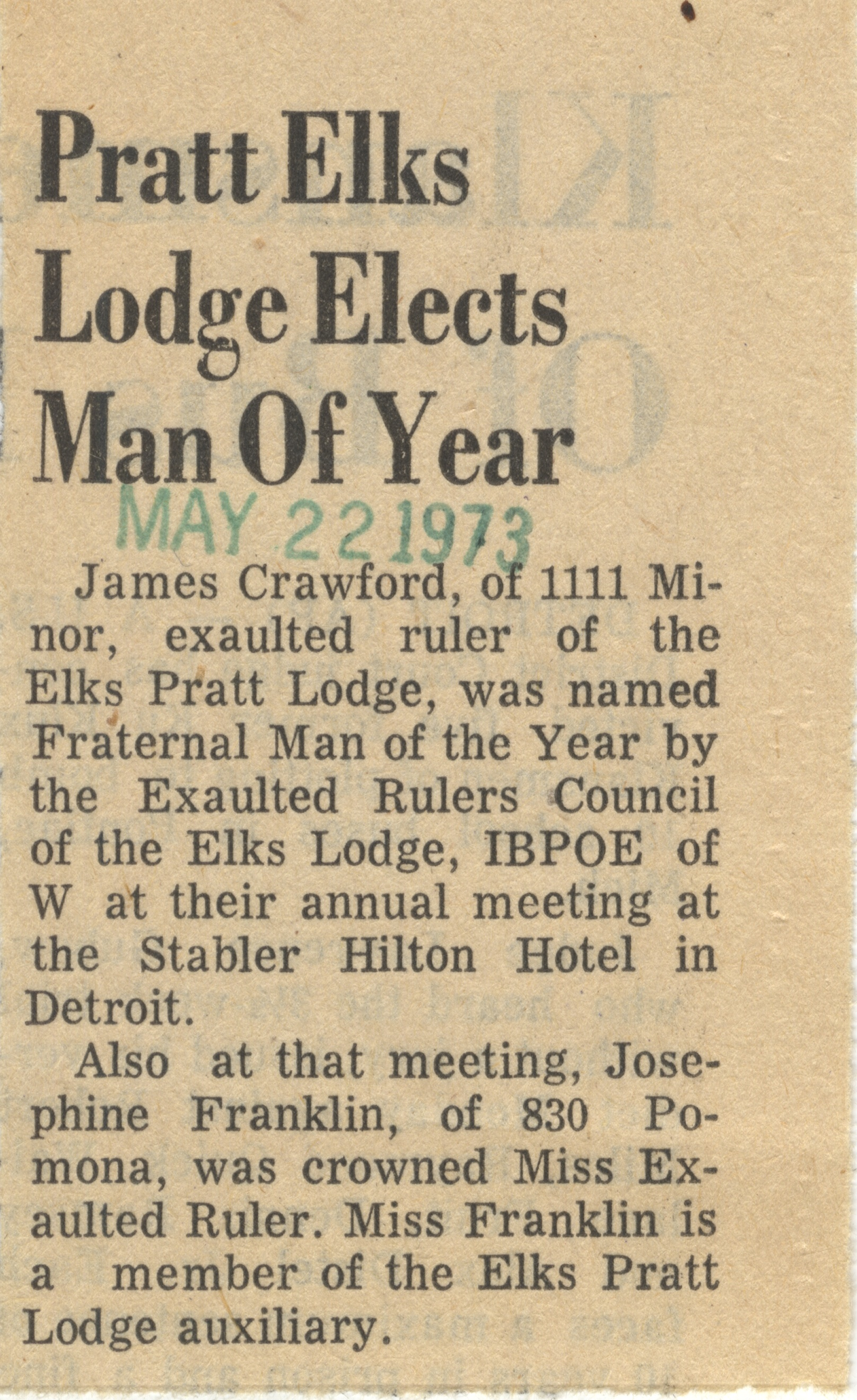 Pratt Lodge Elks Lodge Elects Man Of Year image