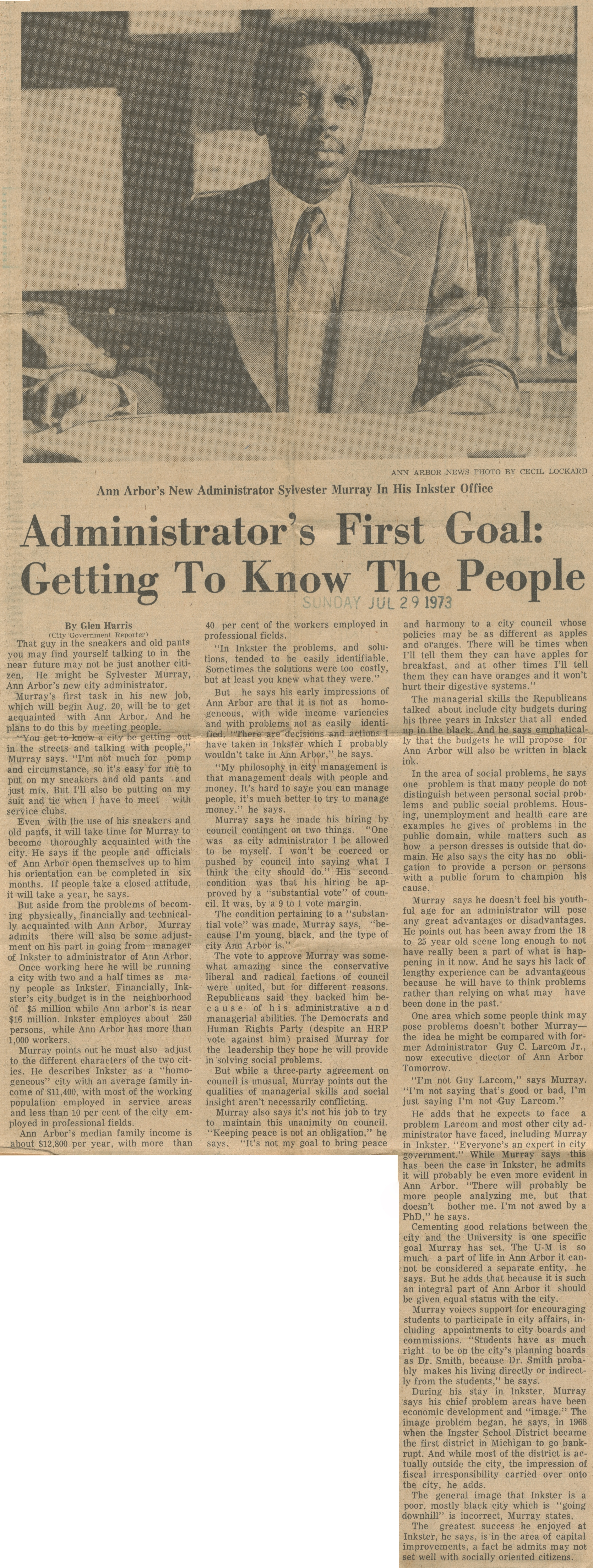 Administrator's First Goal: Getting To Know The People image