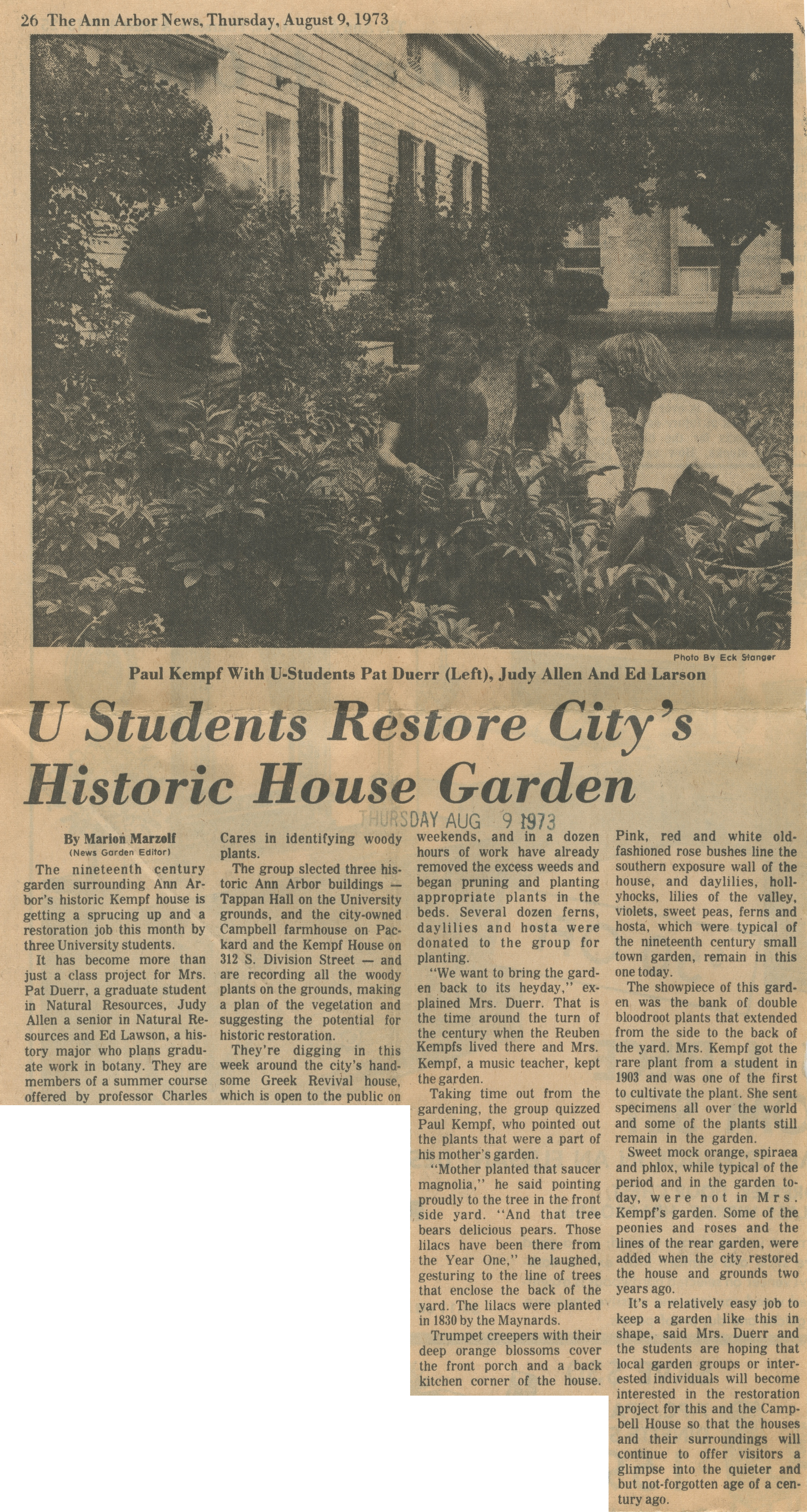 U Students Restore City's Historic House Garden image