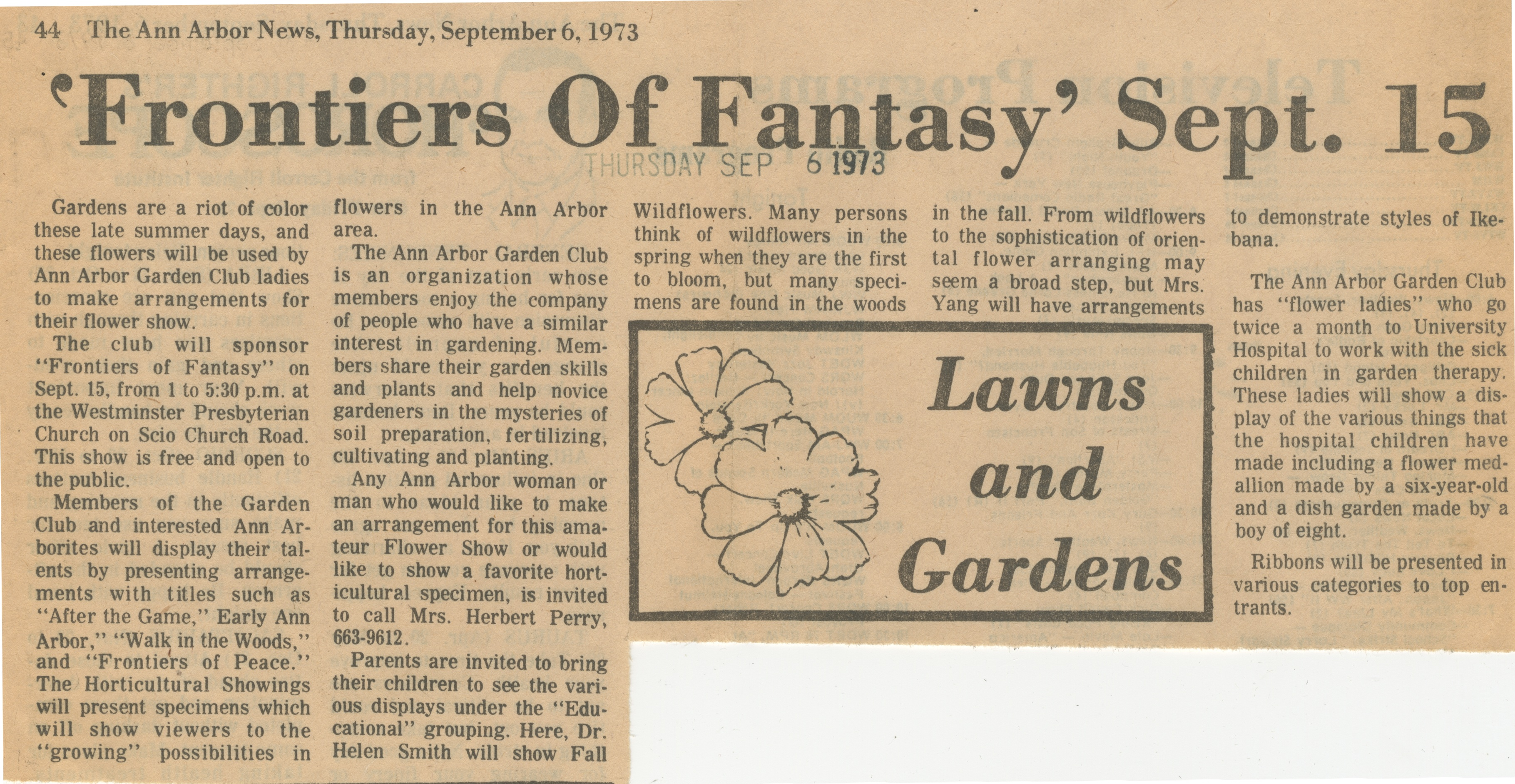 """Frontiers of Fantasy"" Sept. 15 image"